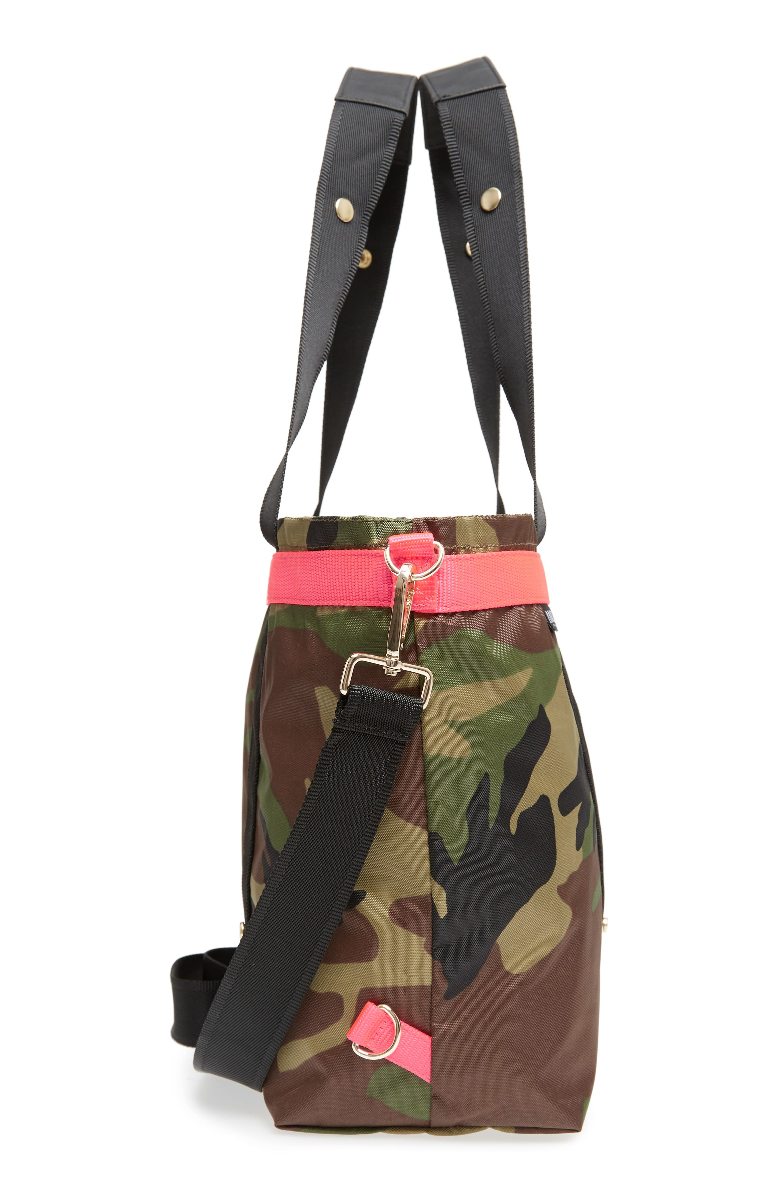 The ANDI Camo Convertible Tote,                             Alternate thumbnail 6, color,                             WOODLAND CAMOUFLAGE/ HOT PINK
