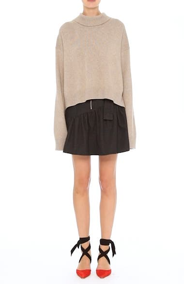 Belted Ruffle Denim Miniskirt, video thumbnail