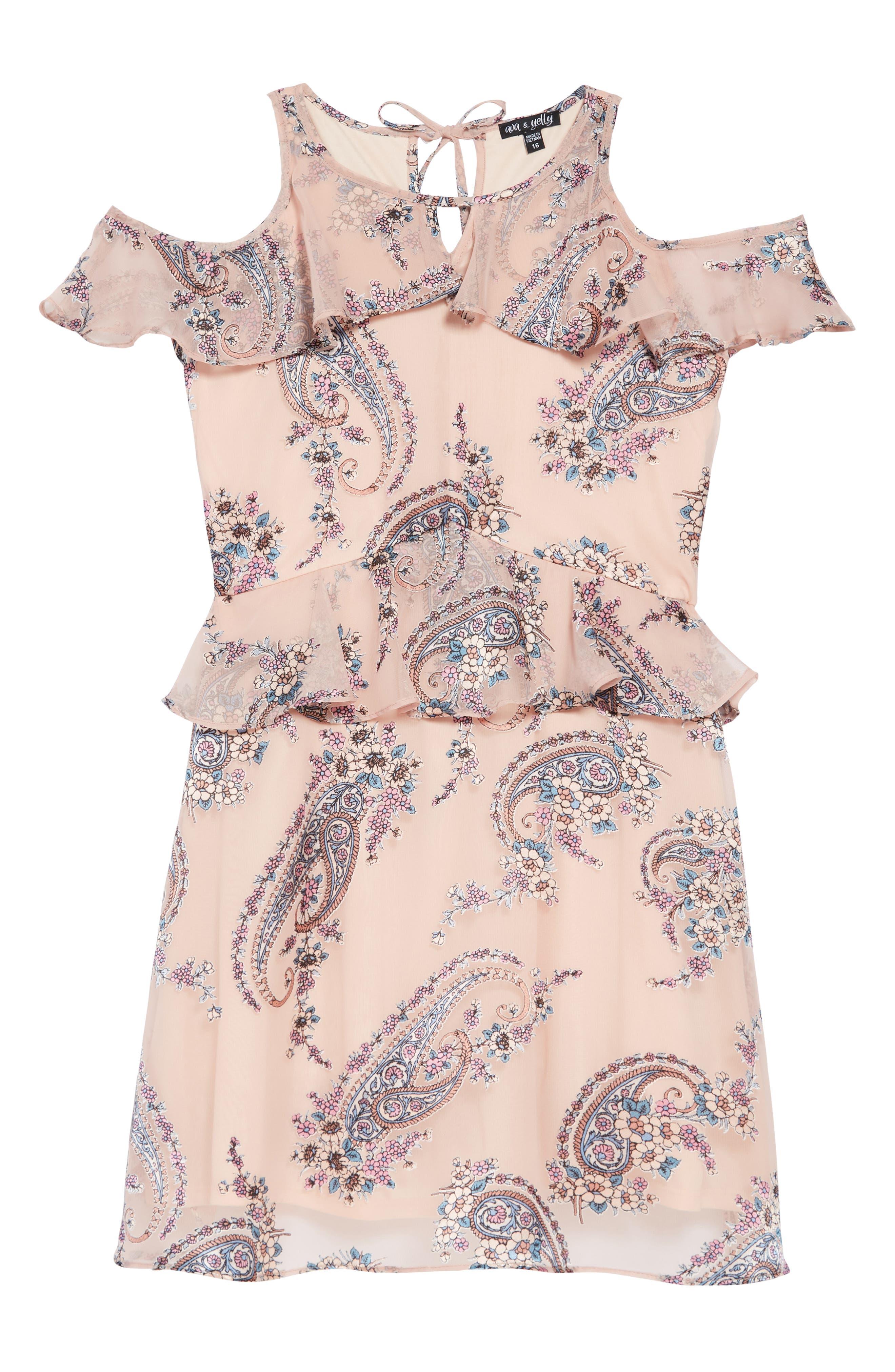 Paisley Cold Shoulder Dress,                         Main,                         color, 680
