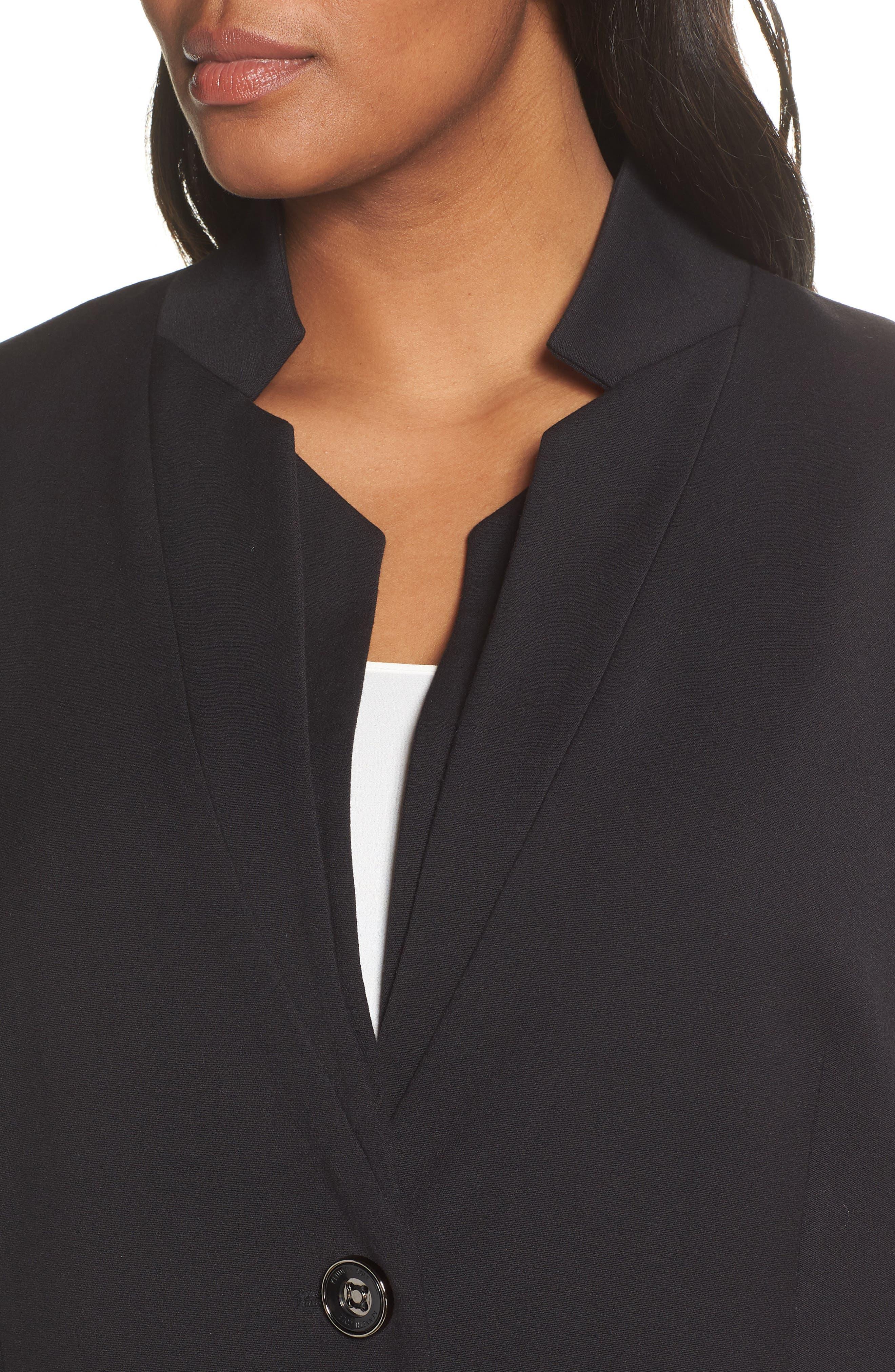 KENNETH COLE NEW YORK,                             Inverted Collar Ponte Jacket,                             Alternate thumbnail 4, color,                             BLACK