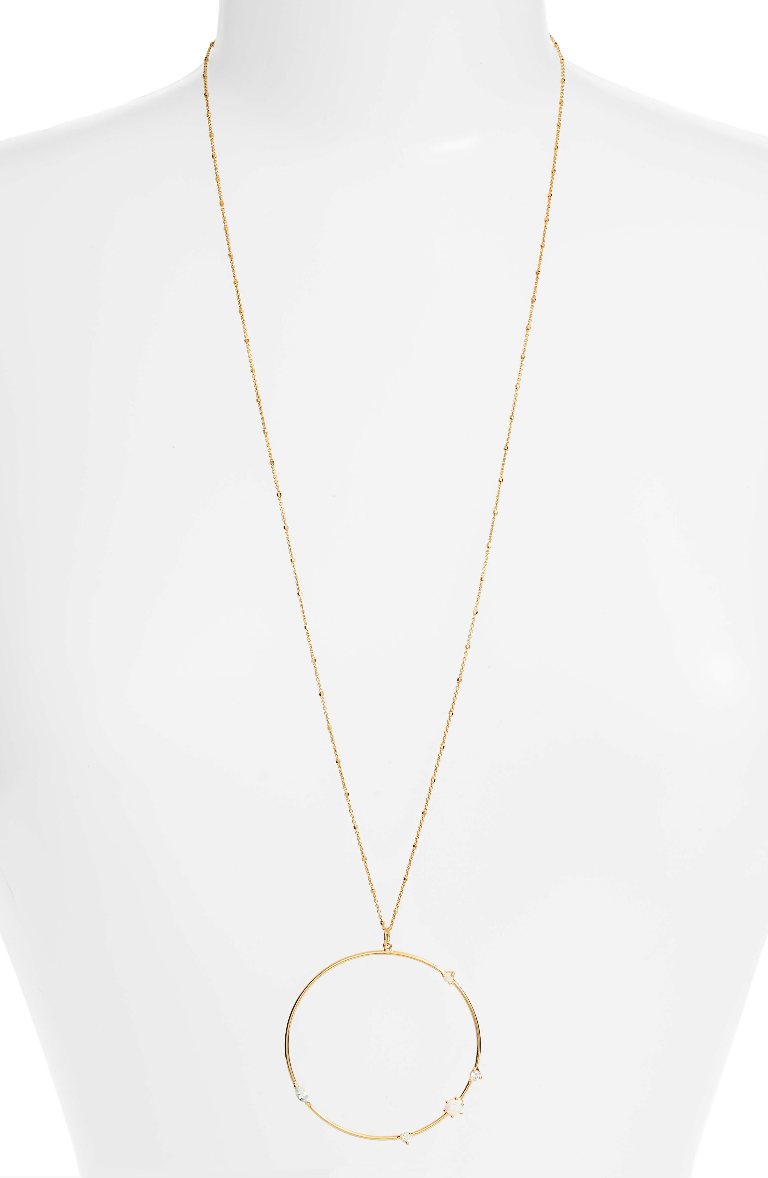 Sydney Large Open Ring Pendant Necklace,                         Main,                         color, GOLD