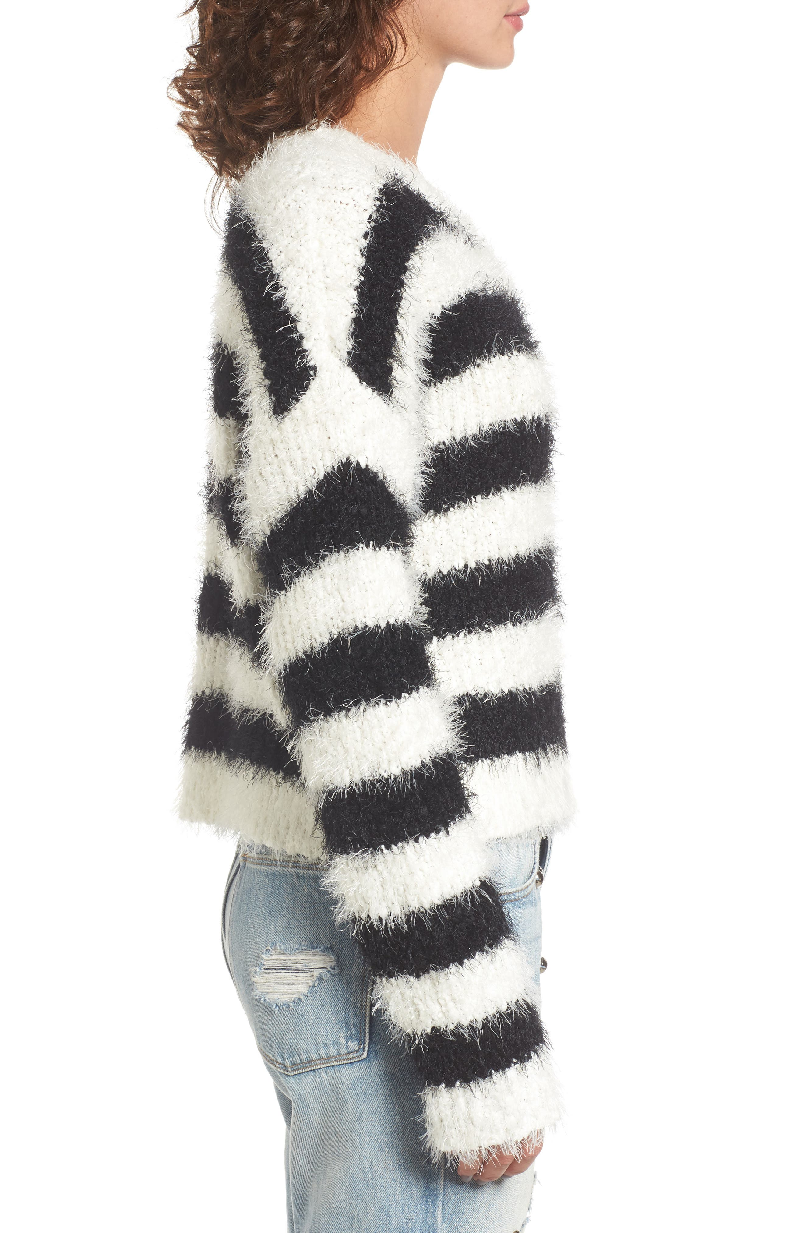Stripe Slouchy Pullover,                             Alternate thumbnail 3, color,                             907