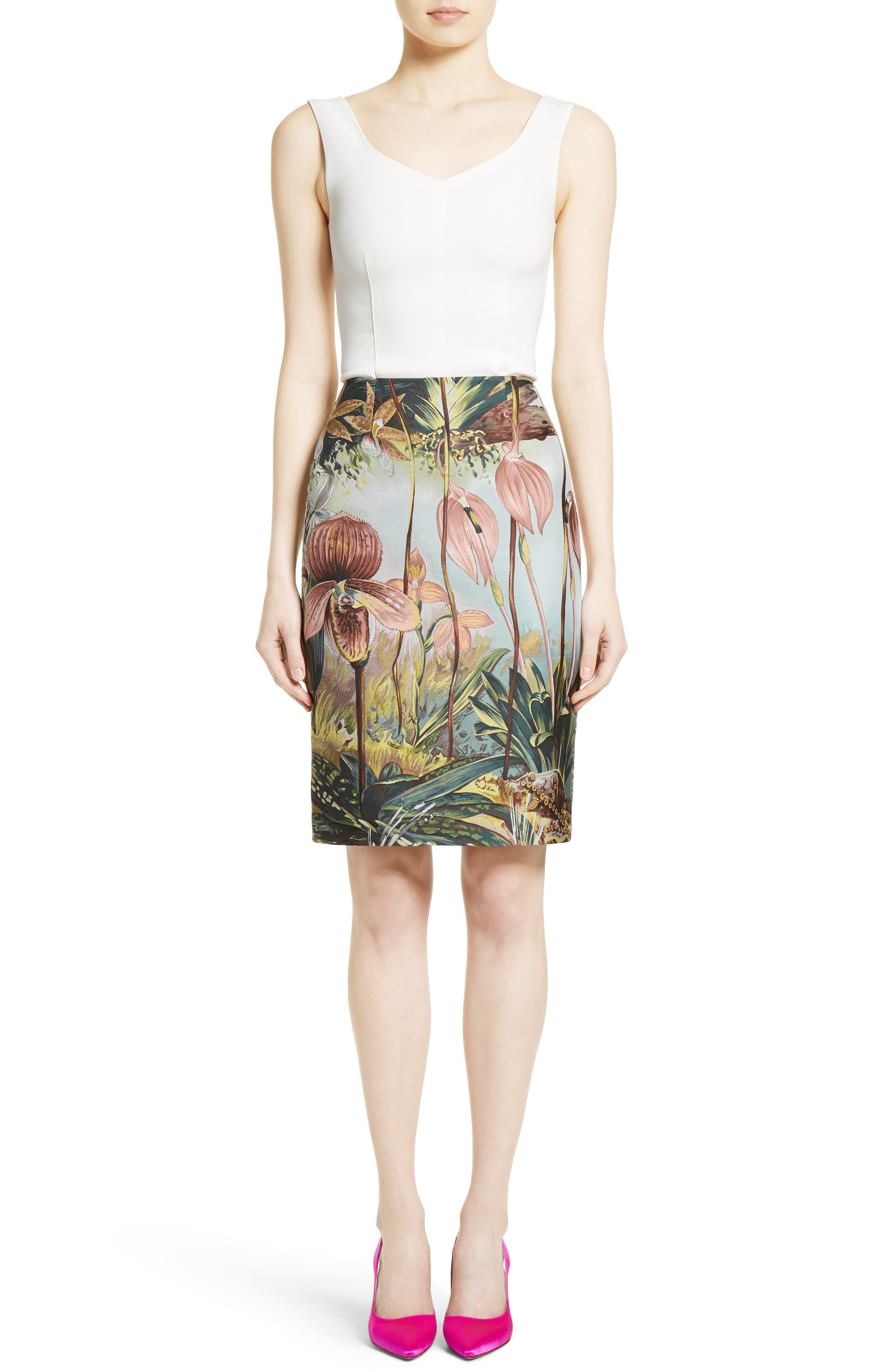 Orchid Print Jacquard Pencil Skirt,                             Alternate thumbnail 6, color,                             650