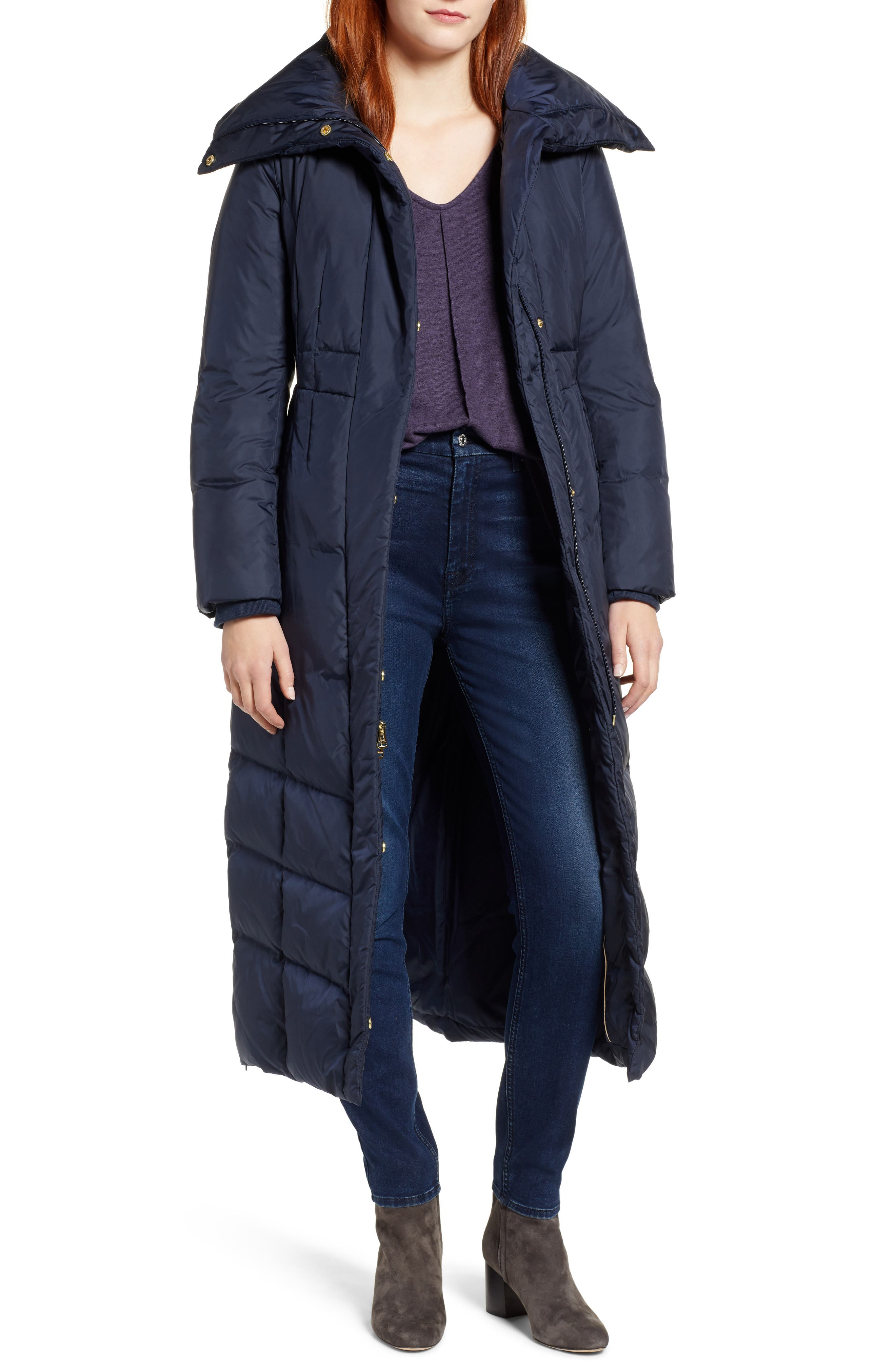 Cole Haan Long Down & Feather Fill Coat, Blue