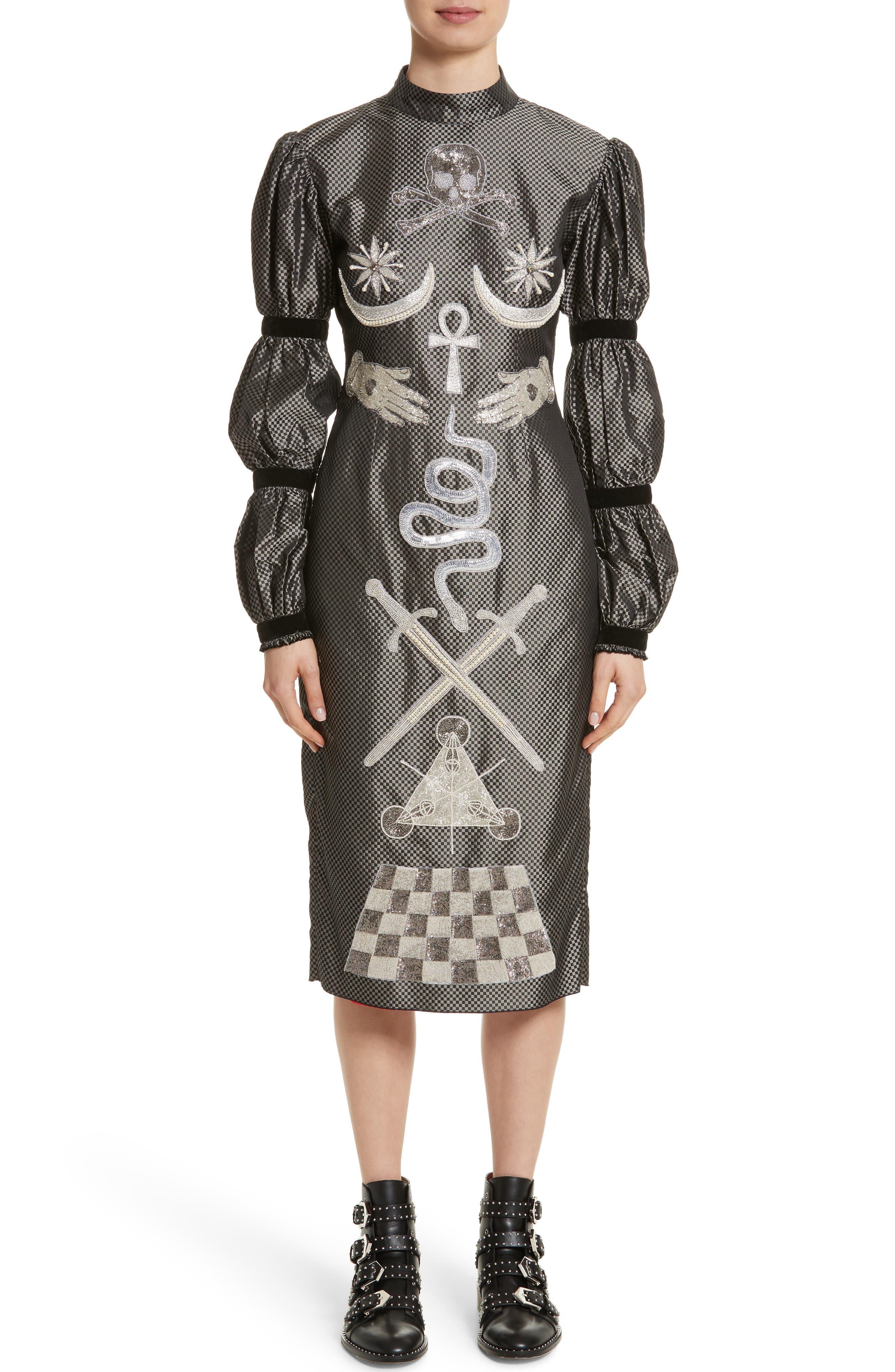 Alien Goddess Embellished Silk Dress,                         Main,                         color, 040