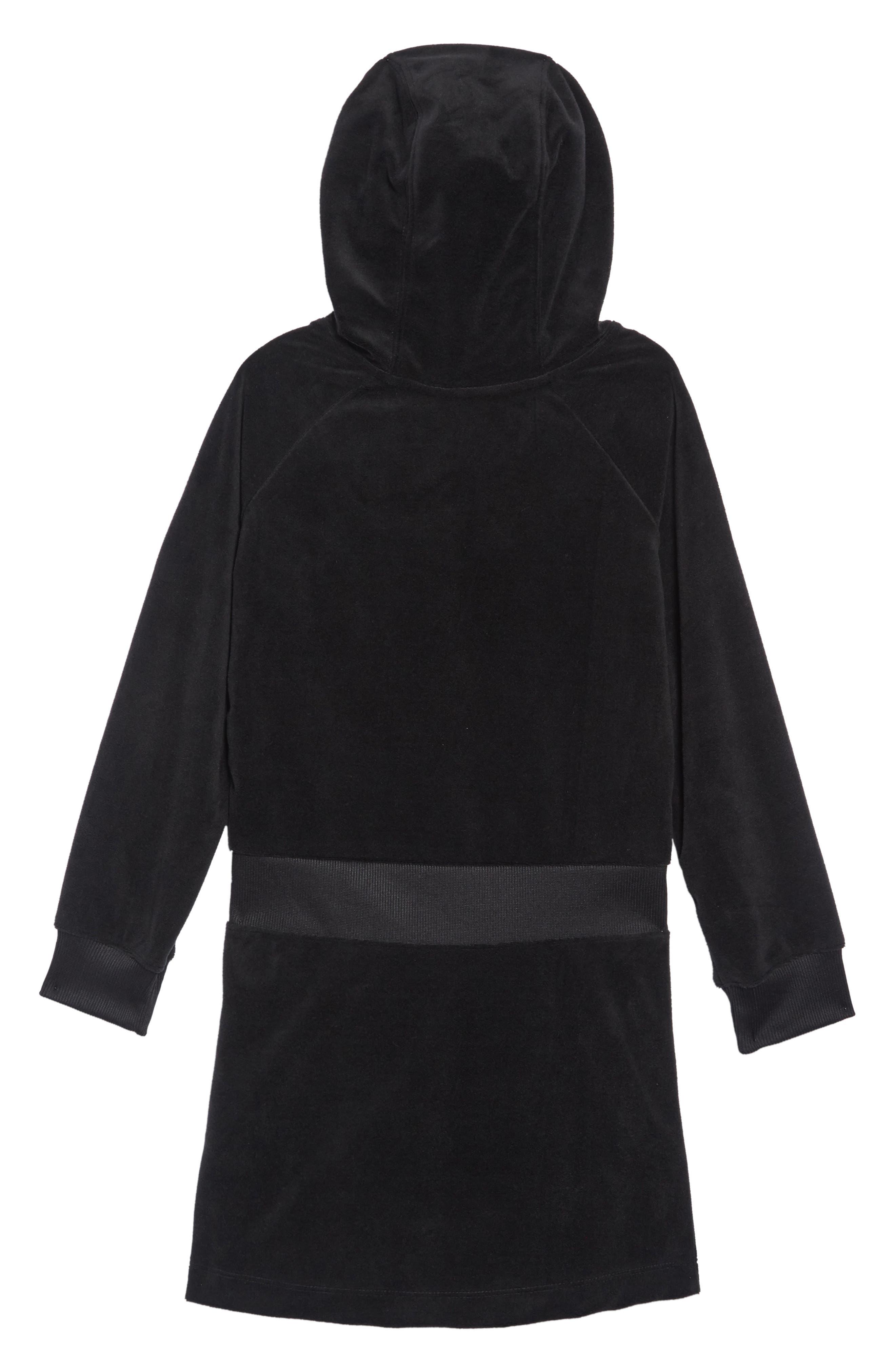 Velour Hooded Sweatshirt Dress,                             Alternate thumbnail 2, color,                             BLACK