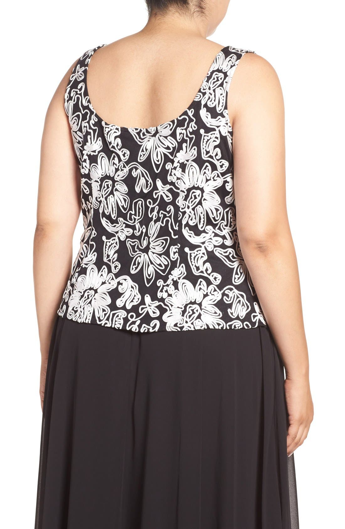 Embroidered Twinset,                             Alternate thumbnail 5, color,                             BLACK/ WHITE