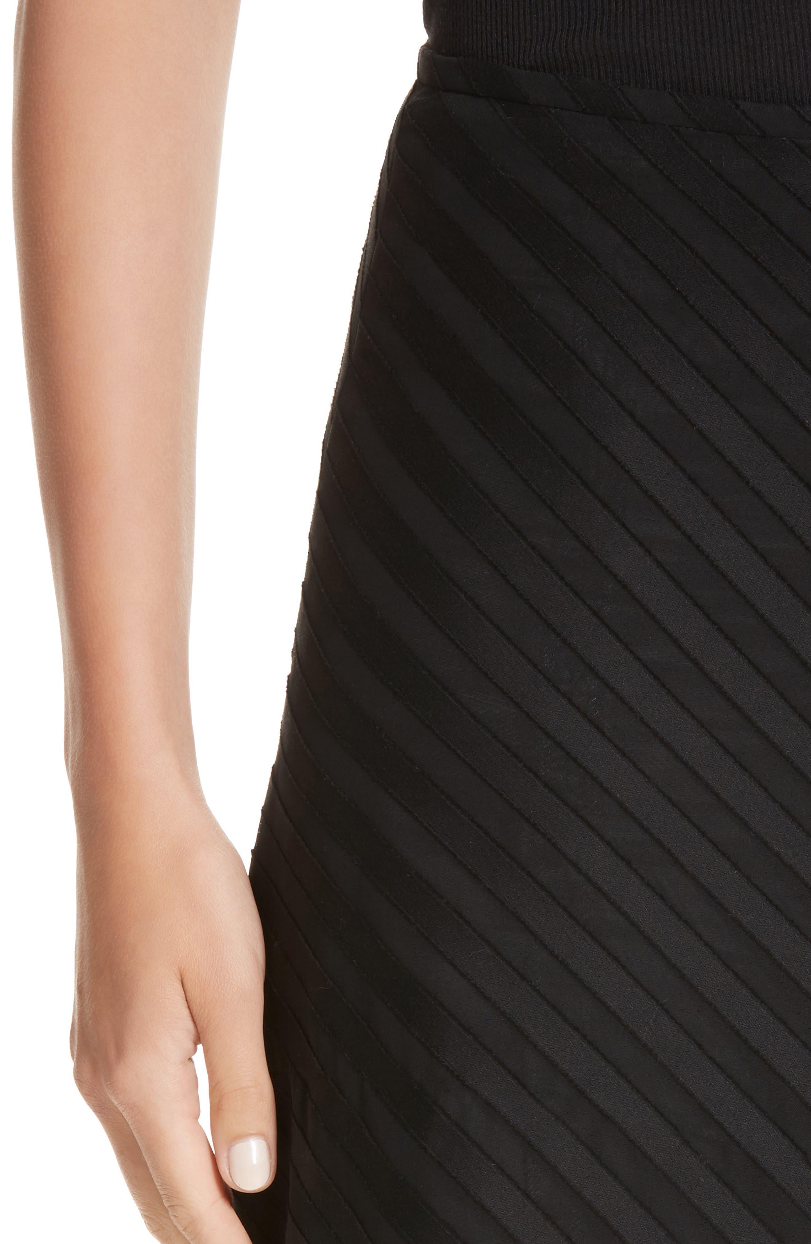 Diagonal Stripe Cotton Voile Midi Skirt,                             Alternate thumbnail 4, color,                             009