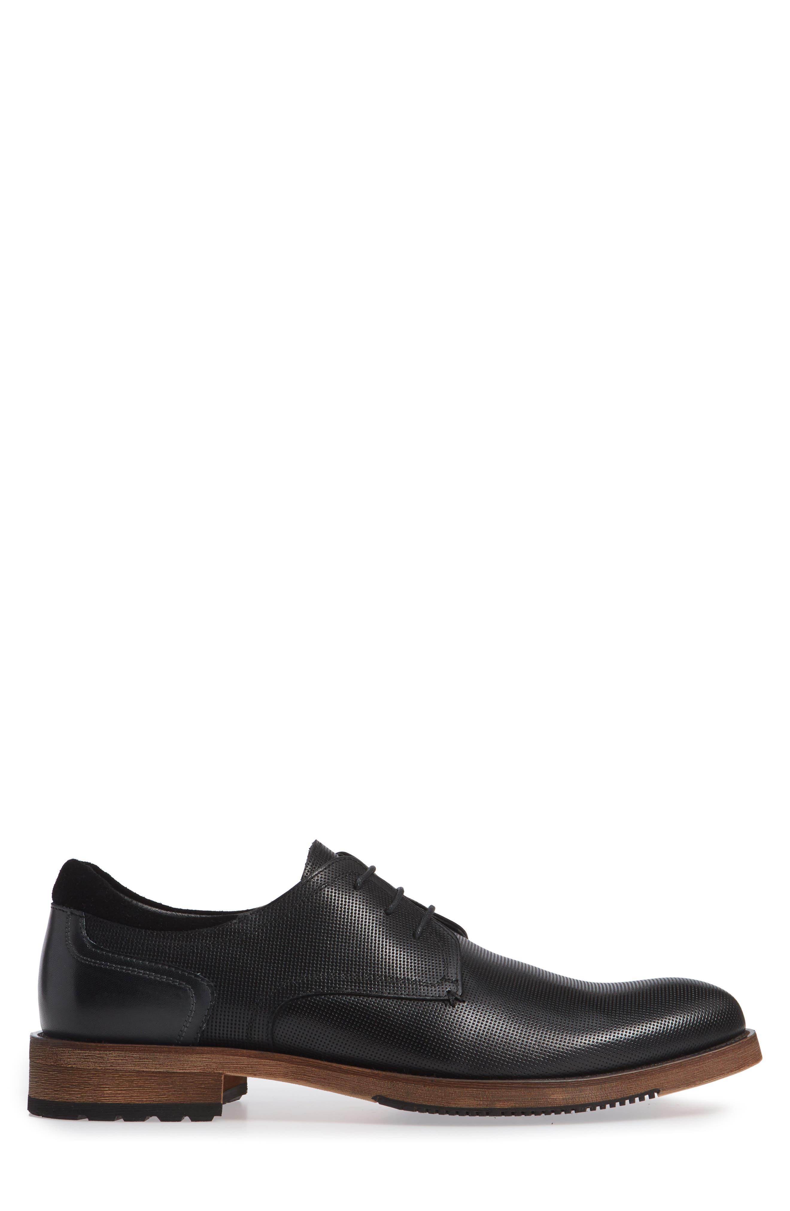 Durham Textured Plain Toe Derby,                             Alternate thumbnail 3, color,                             BLACK