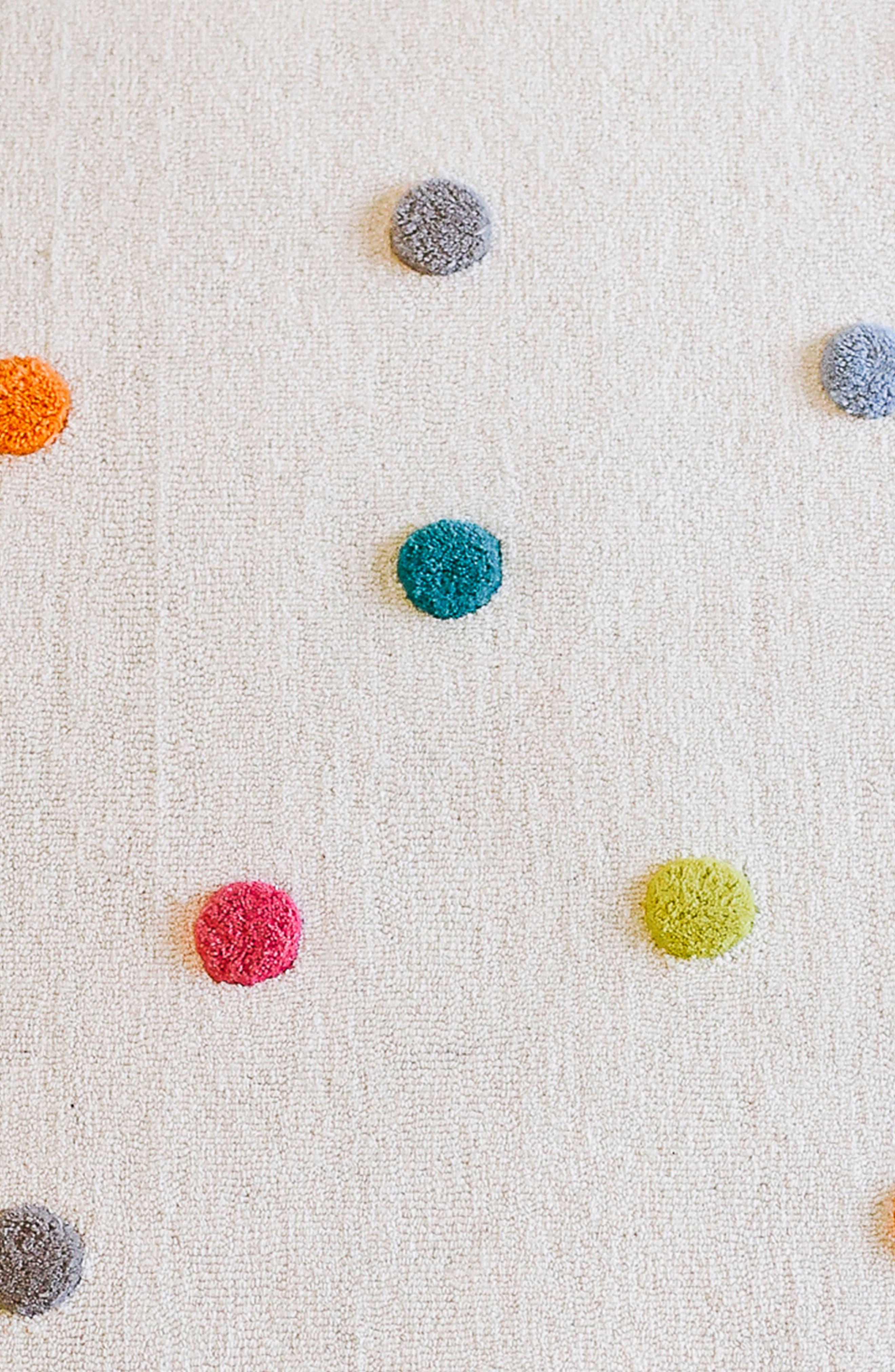 Multicolor Pompom Wool Rug,                             Alternate thumbnail 2, color,                             MULTI