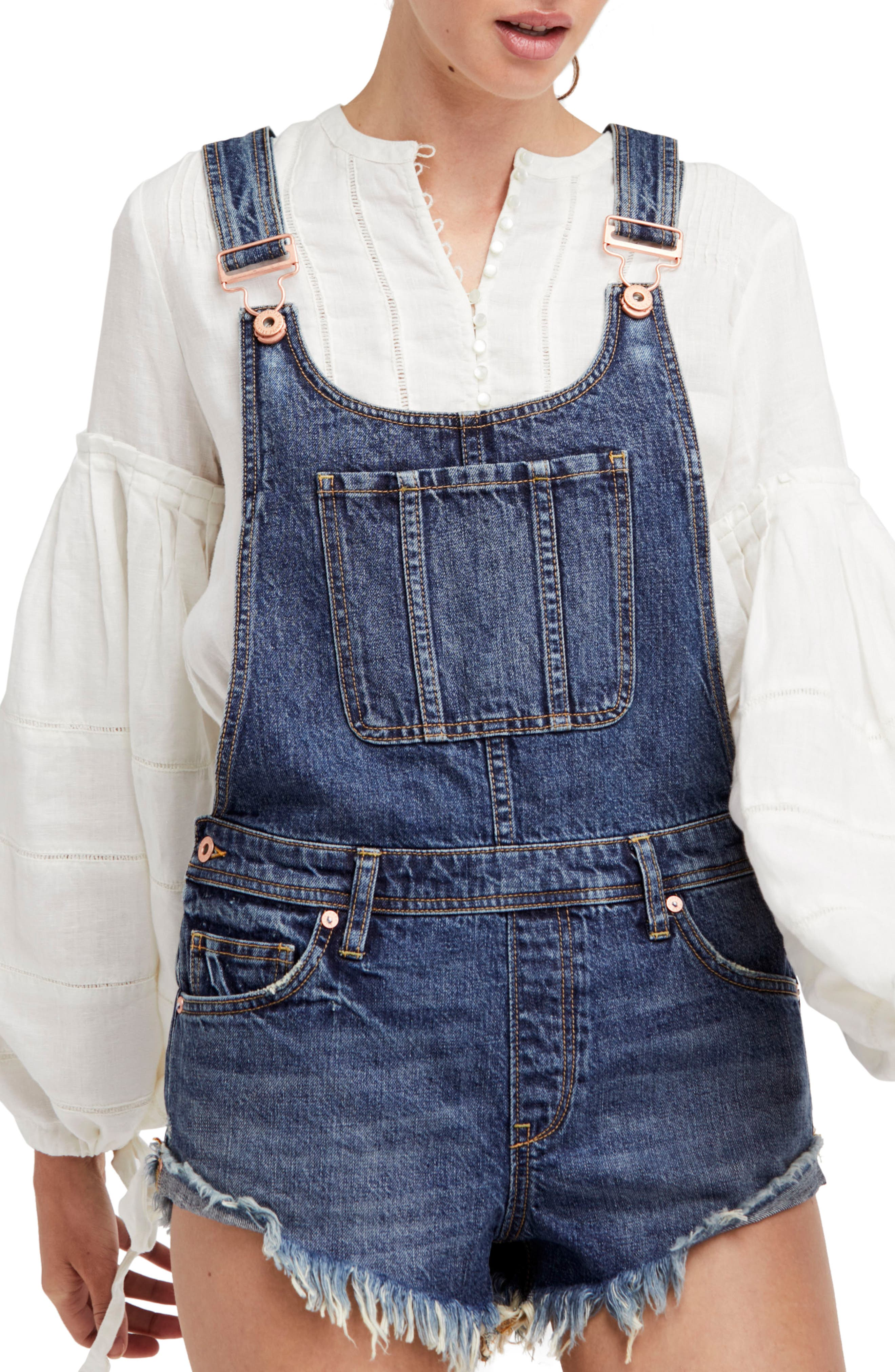 FREE PEOPLE,                             Summer Babe Short Overalls,                             Main thumbnail 1, color,                             400