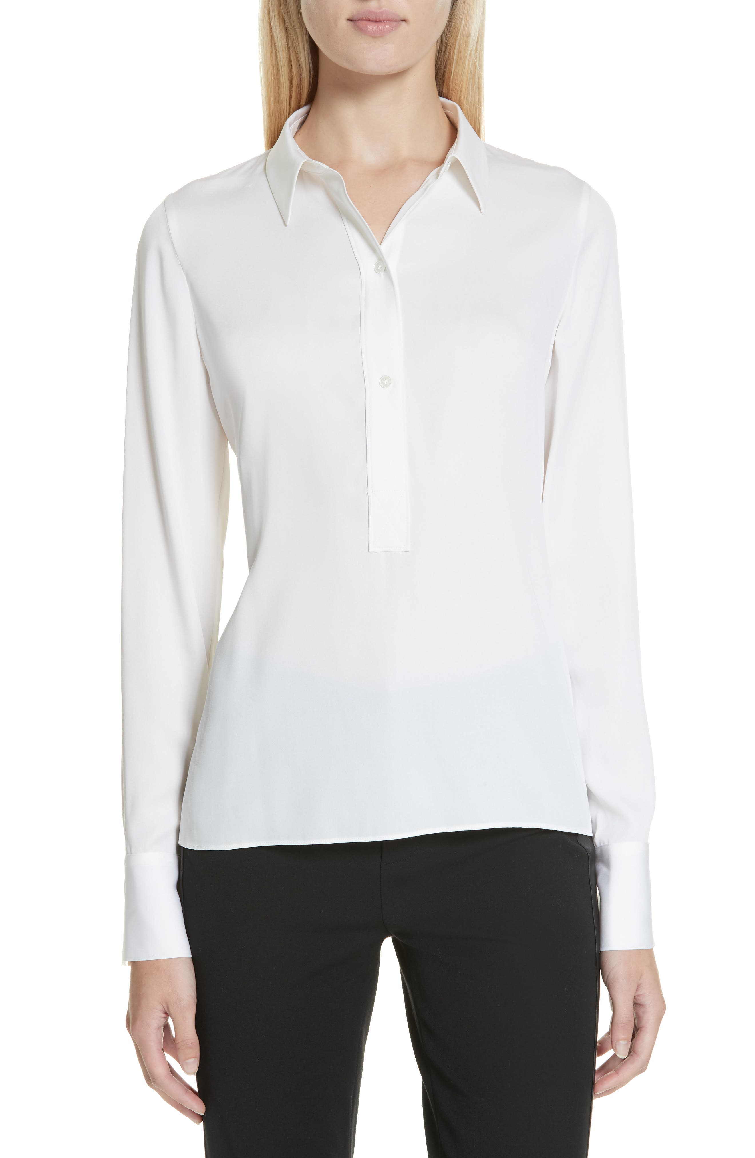 Slim-Fit Silk Button-Front Popover Shirt in Optic White