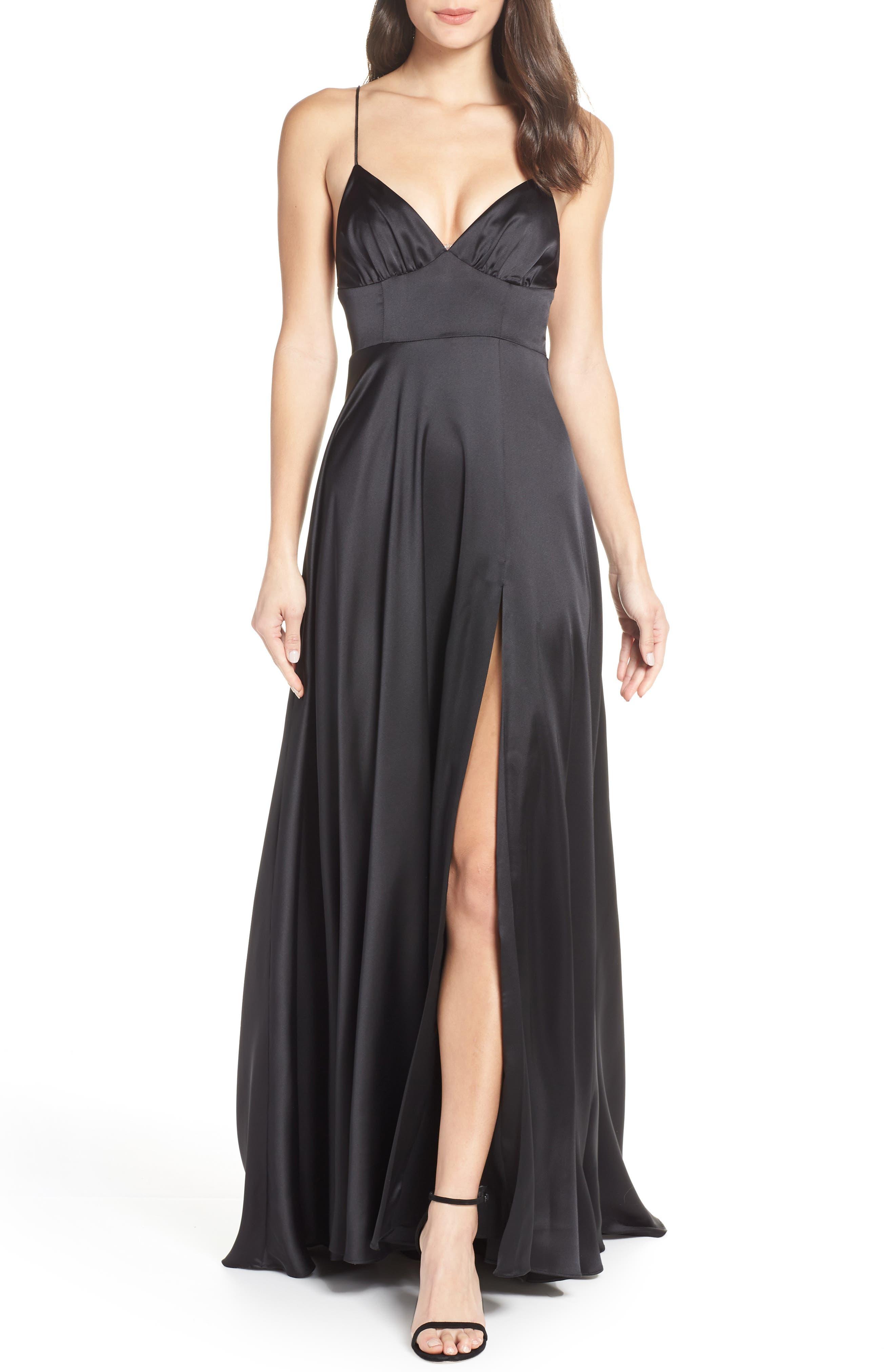 Fame And Partners The Margit Satin Evening Dress, Black