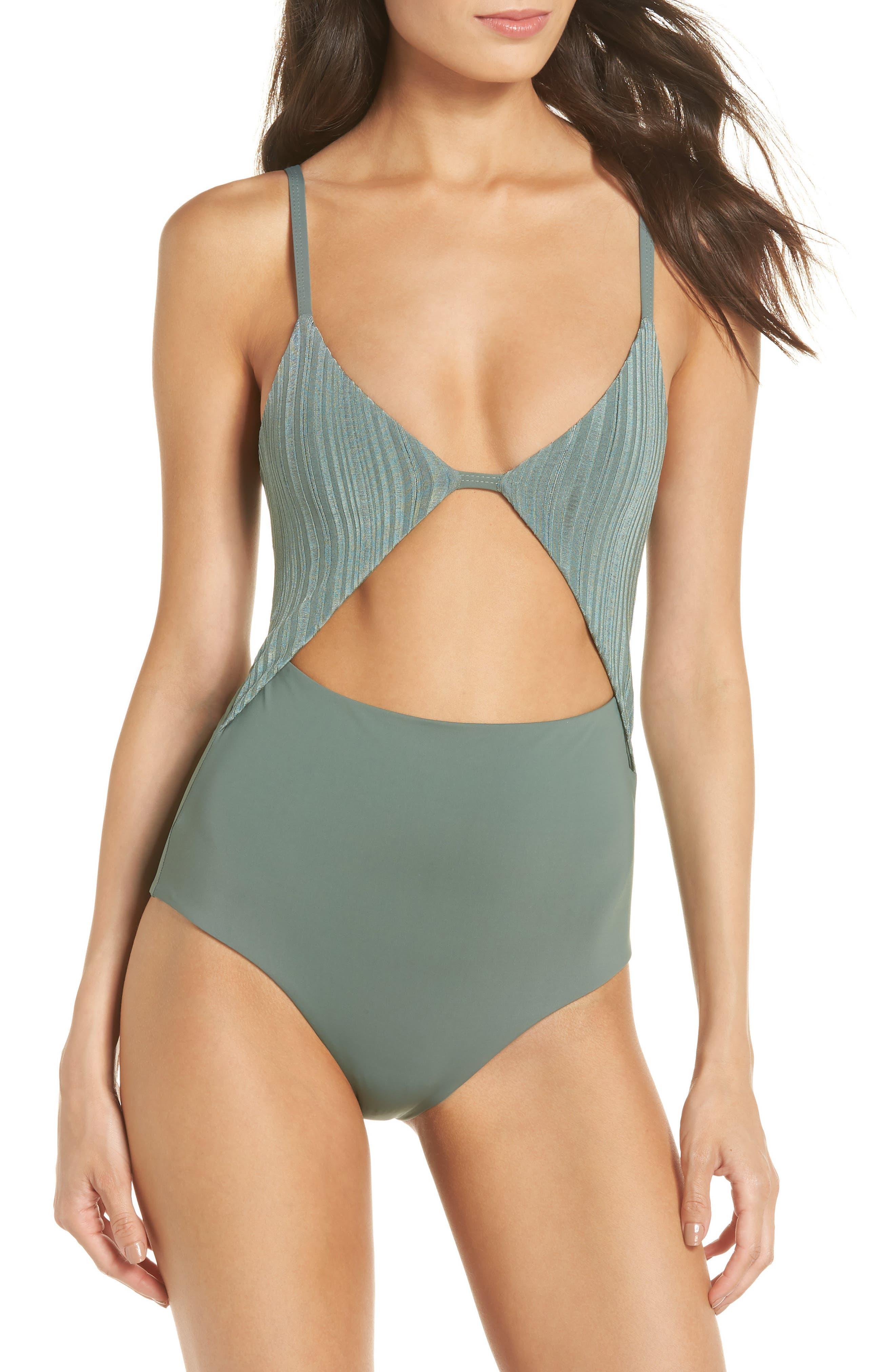 Penelope Cutout One-Piece Swimsuit,                         Main,                         color, MEADOW GREEN