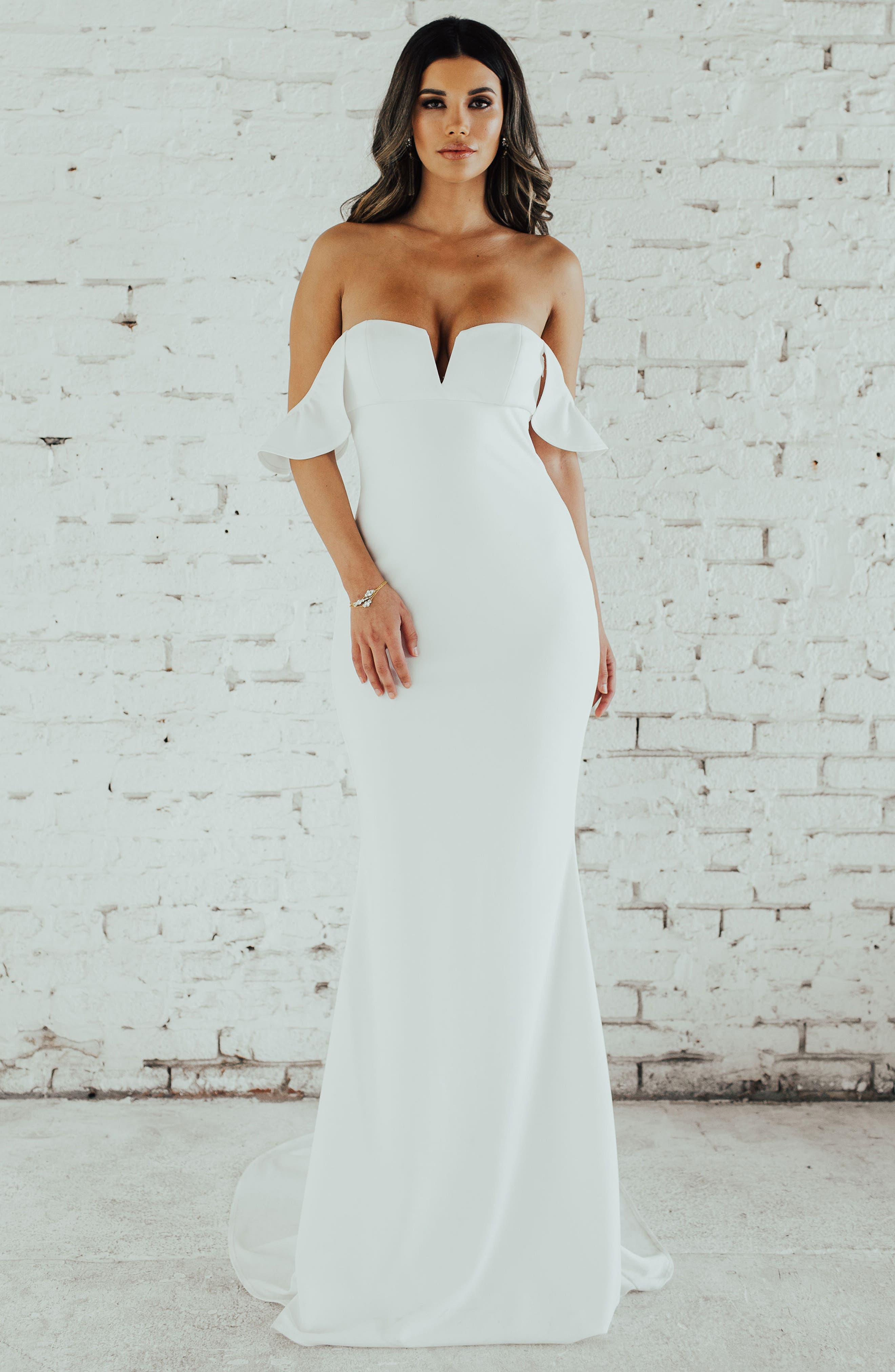 Noel And Jean By Katie May Nautilus Ruffled Off The Shoulder Crepe Mermaid Gown, Ivory