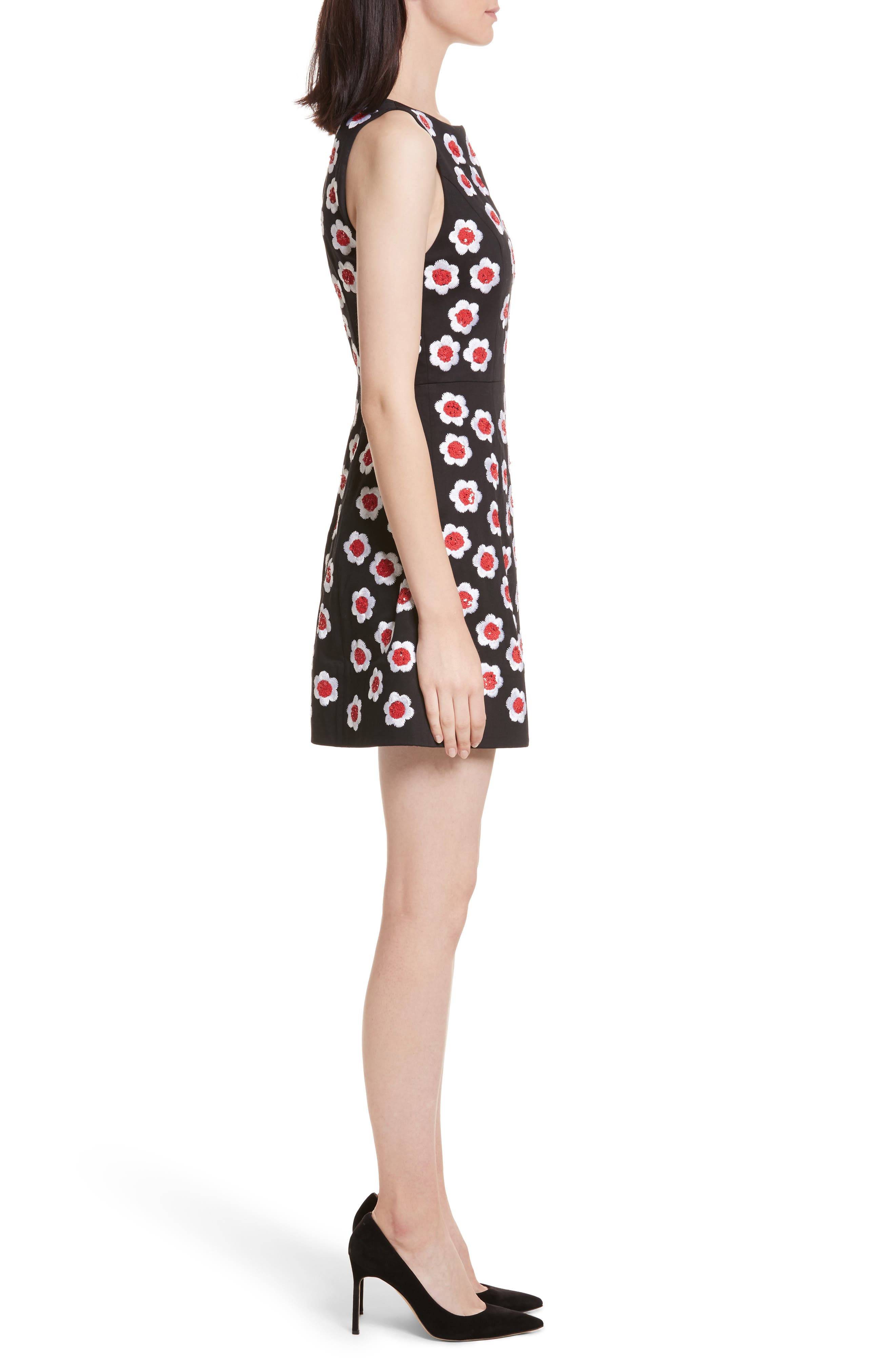 Lindsey Embroidered A-Line Dress,                             Alternate thumbnail 3, color,                             019