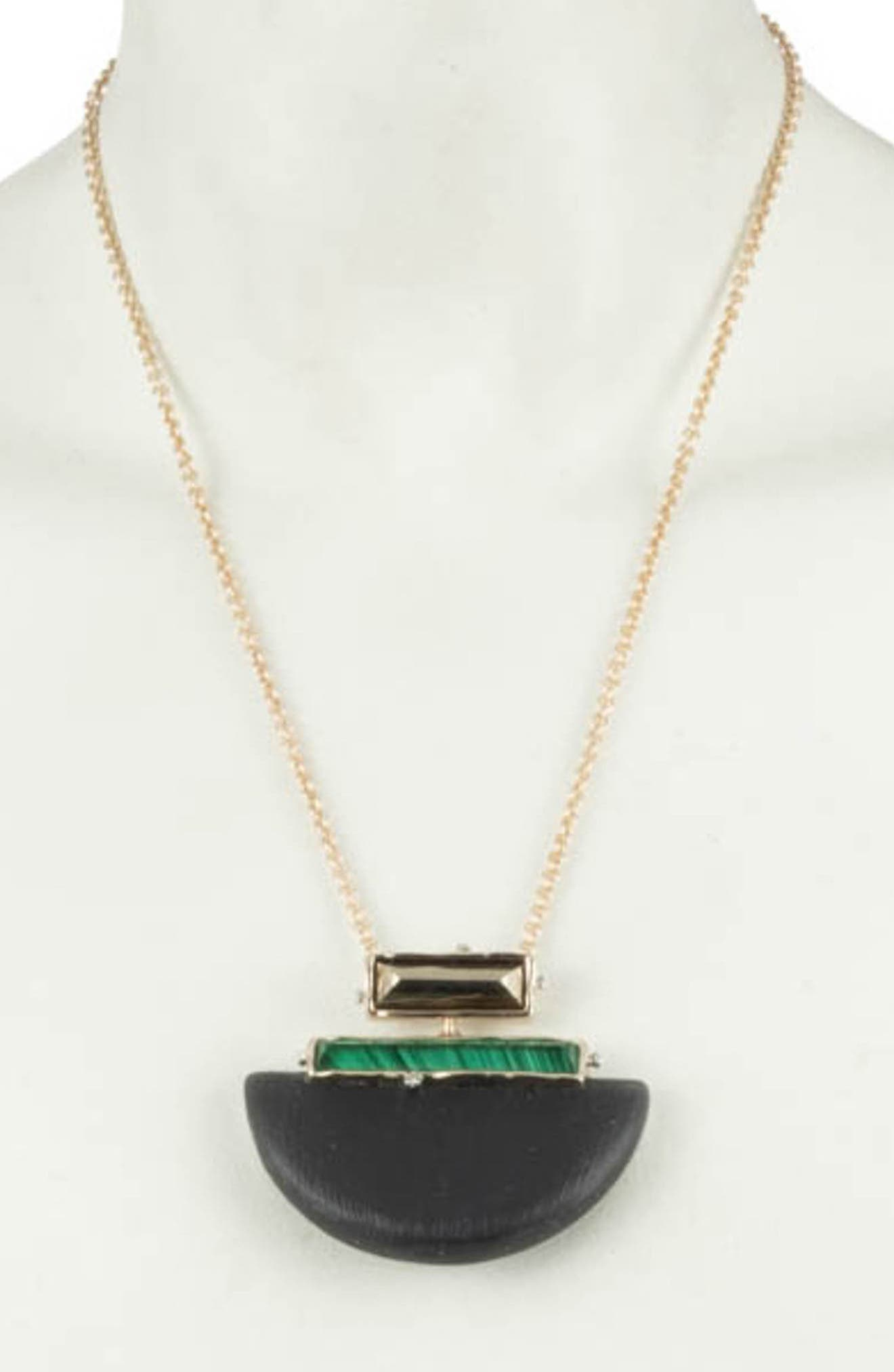 ALEXIS BITTAR,                             Retro Gold Collection Stone Studded Half-Moon Pendant Necklace,                             Alternate thumbnail 2, color,                             BLACK