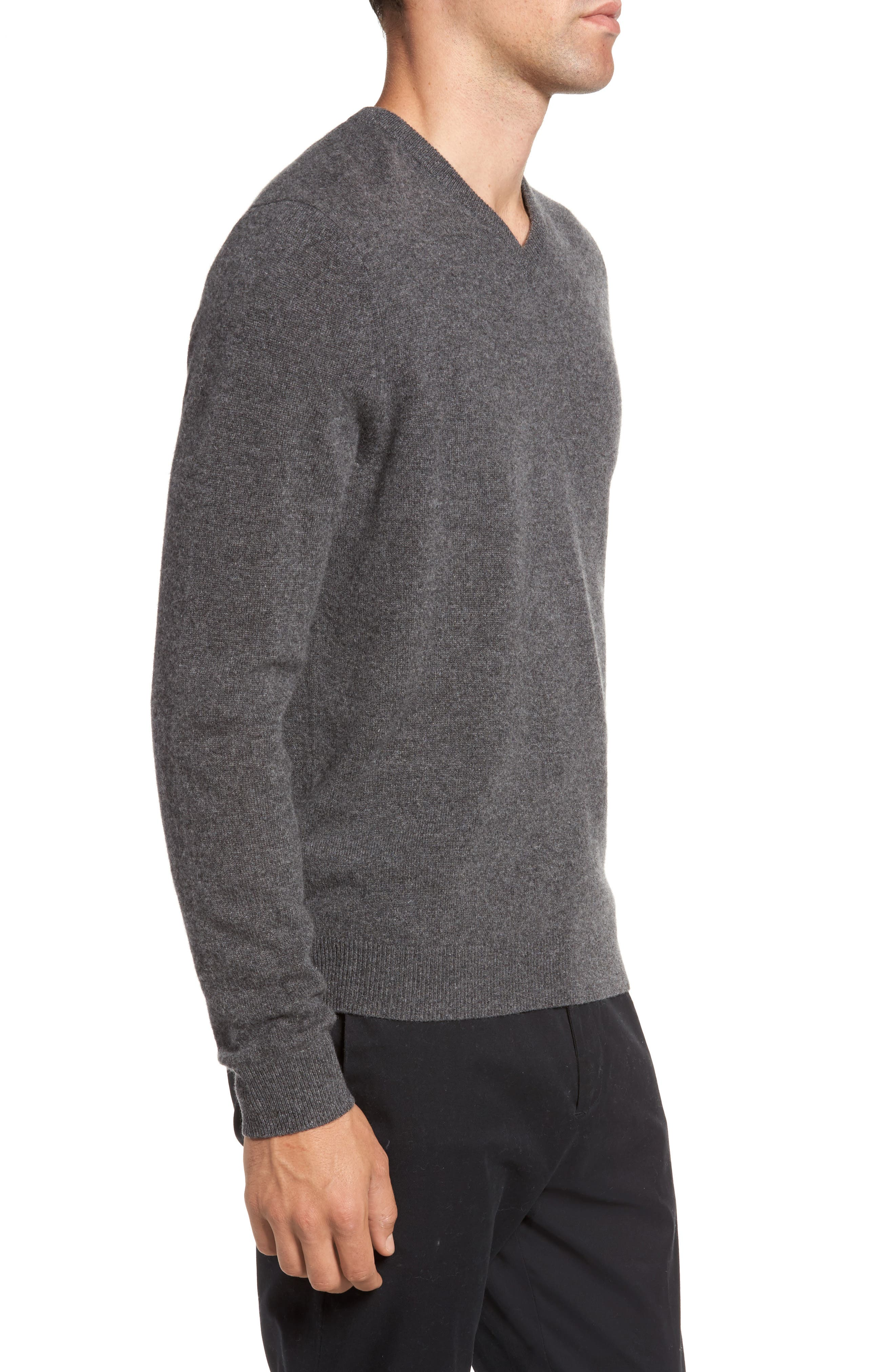 Cashmere V-Neck Sweater,                             Alternate thumbnail 3, color,                             GREY SHADE