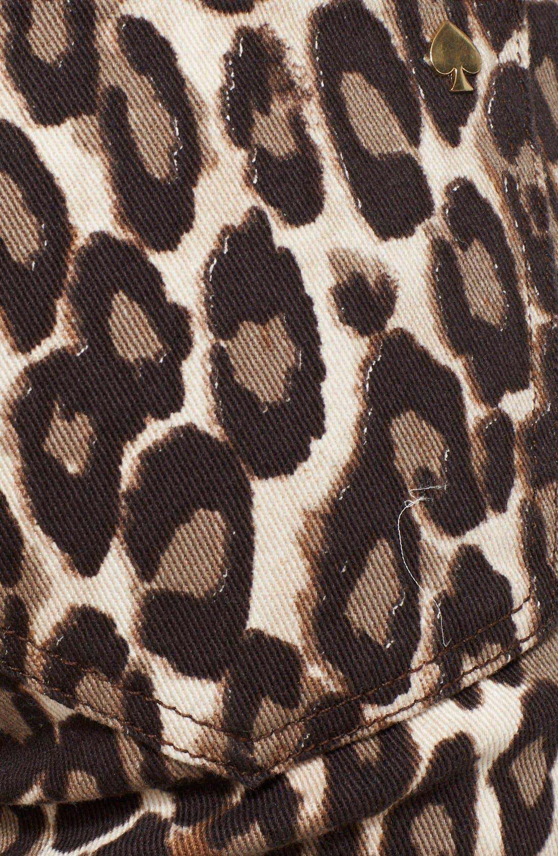 'broome street' leopard print jeans,                             Alternate thumbnail 3, color,                             200