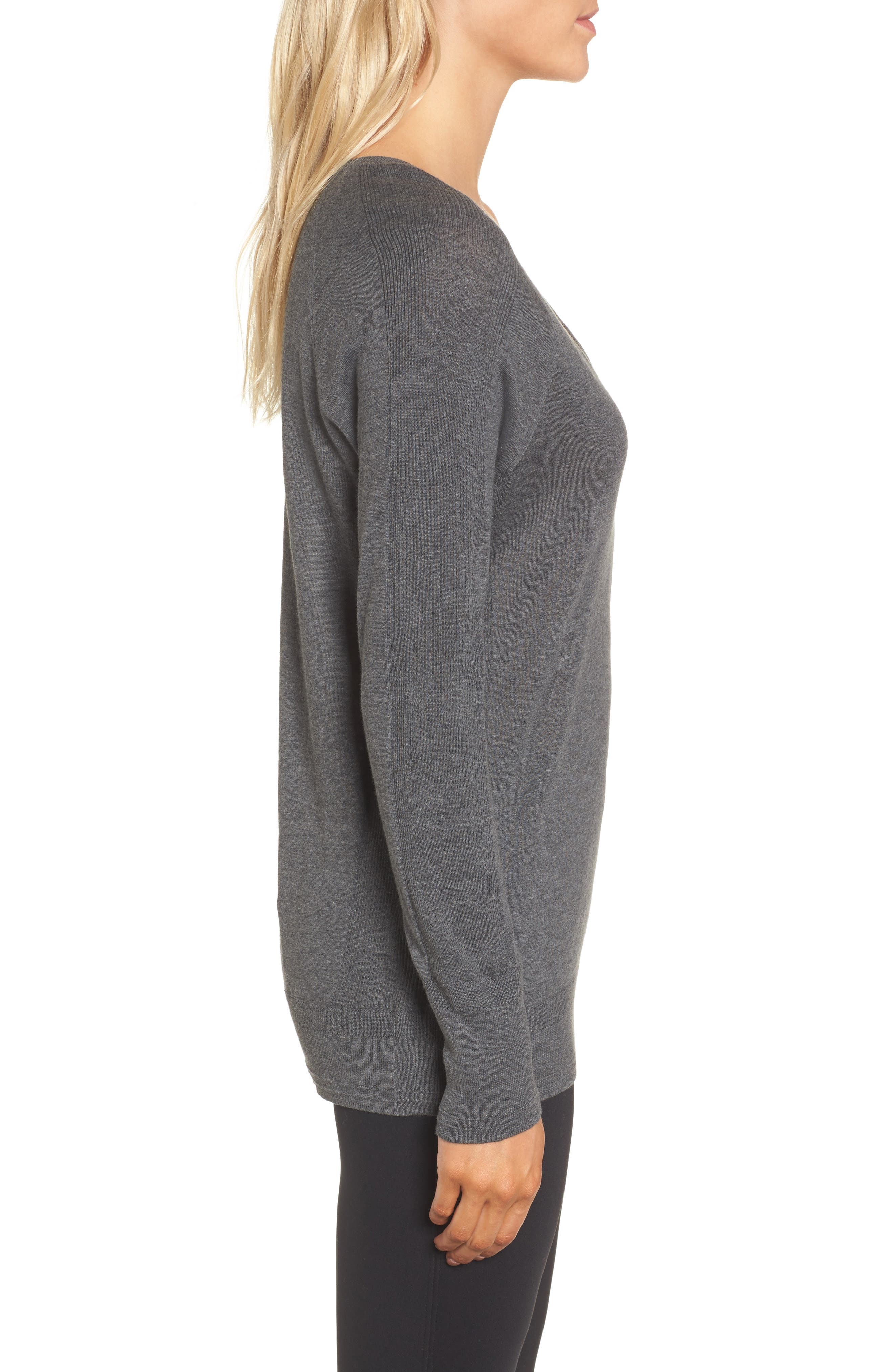 Deep V-Neck Sweater,                             Alternate thumbnail 3, color,                             DARK HEATHER GREY