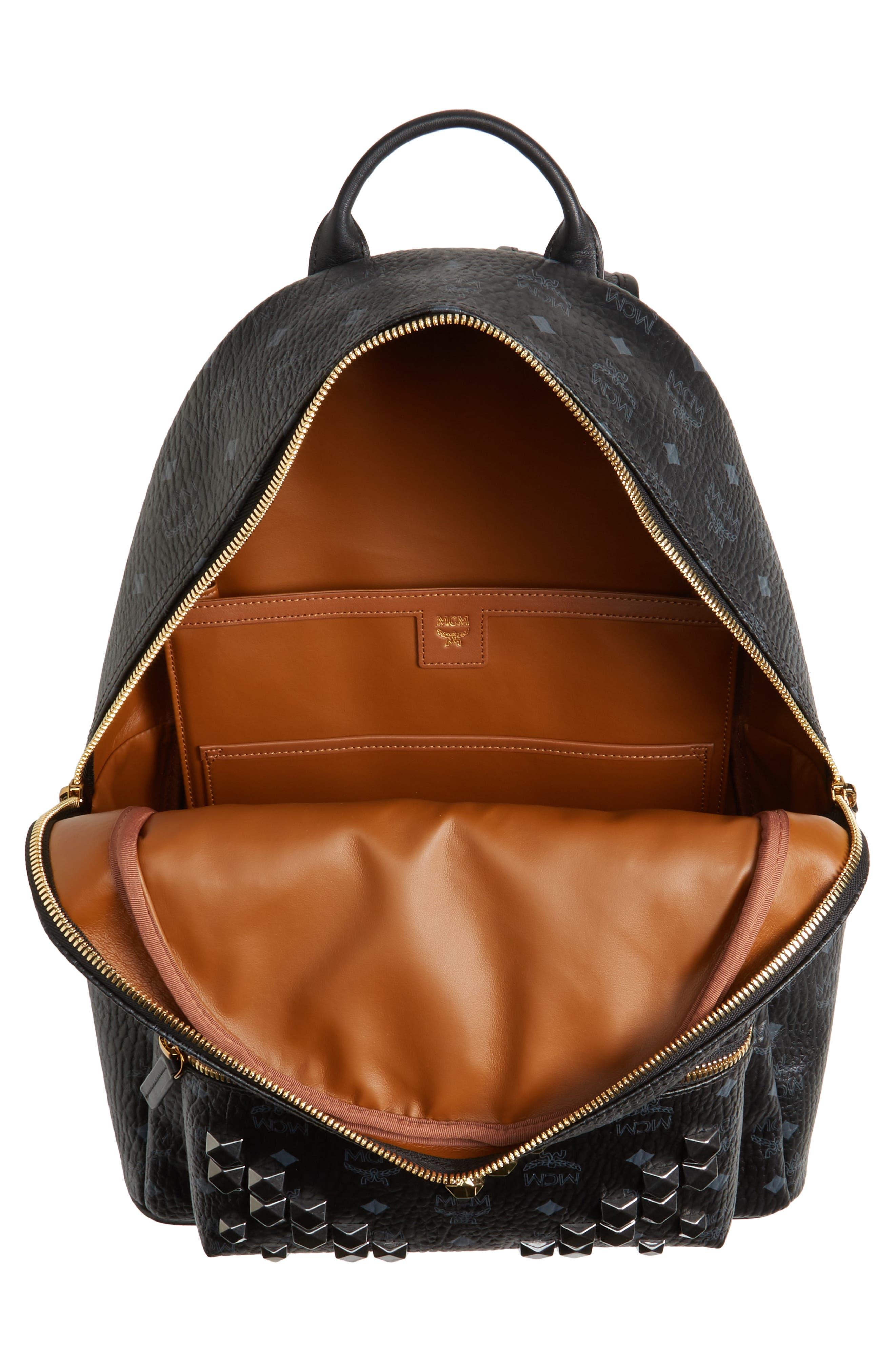 MCM,                             Medium Stark - Visetos Studded Logo Backpack,                             Alternate thumbnail 4, color,                             BLACK