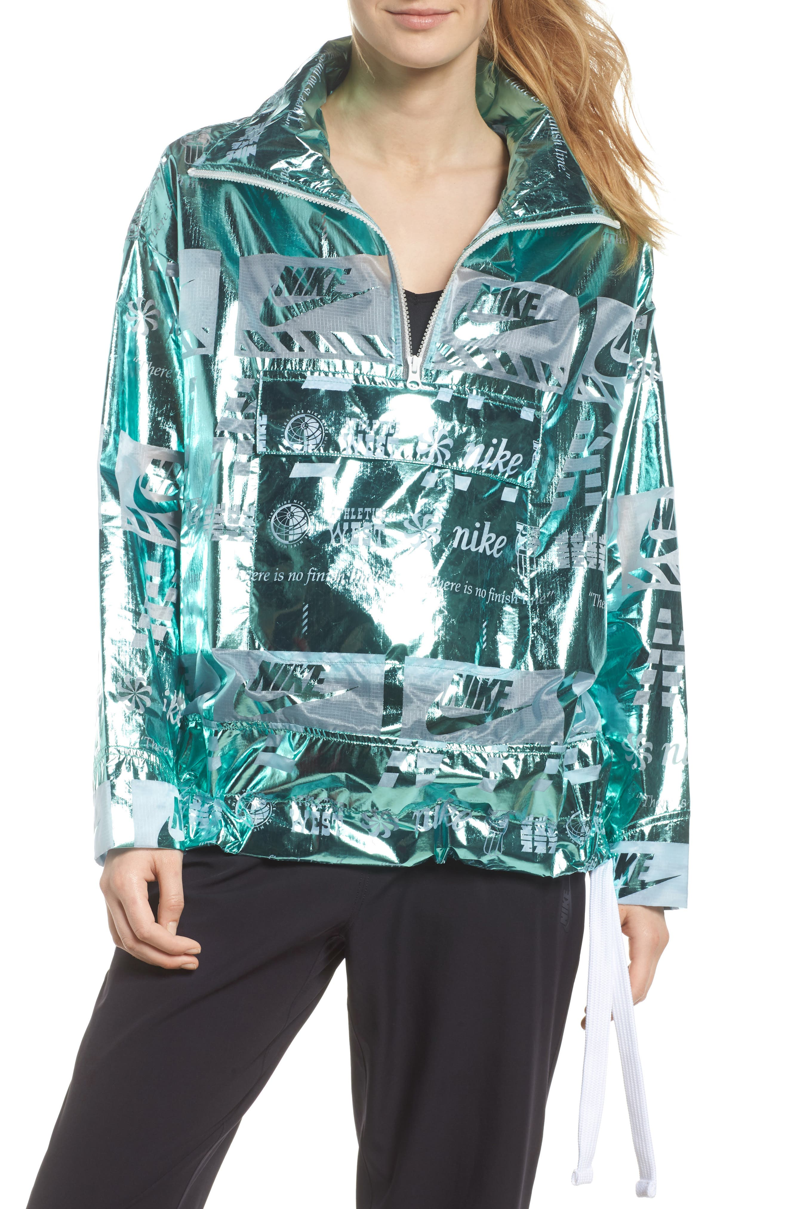 Sportswear Metallic Half Zip Jacket,                             Alternate thumbnail 9, color,