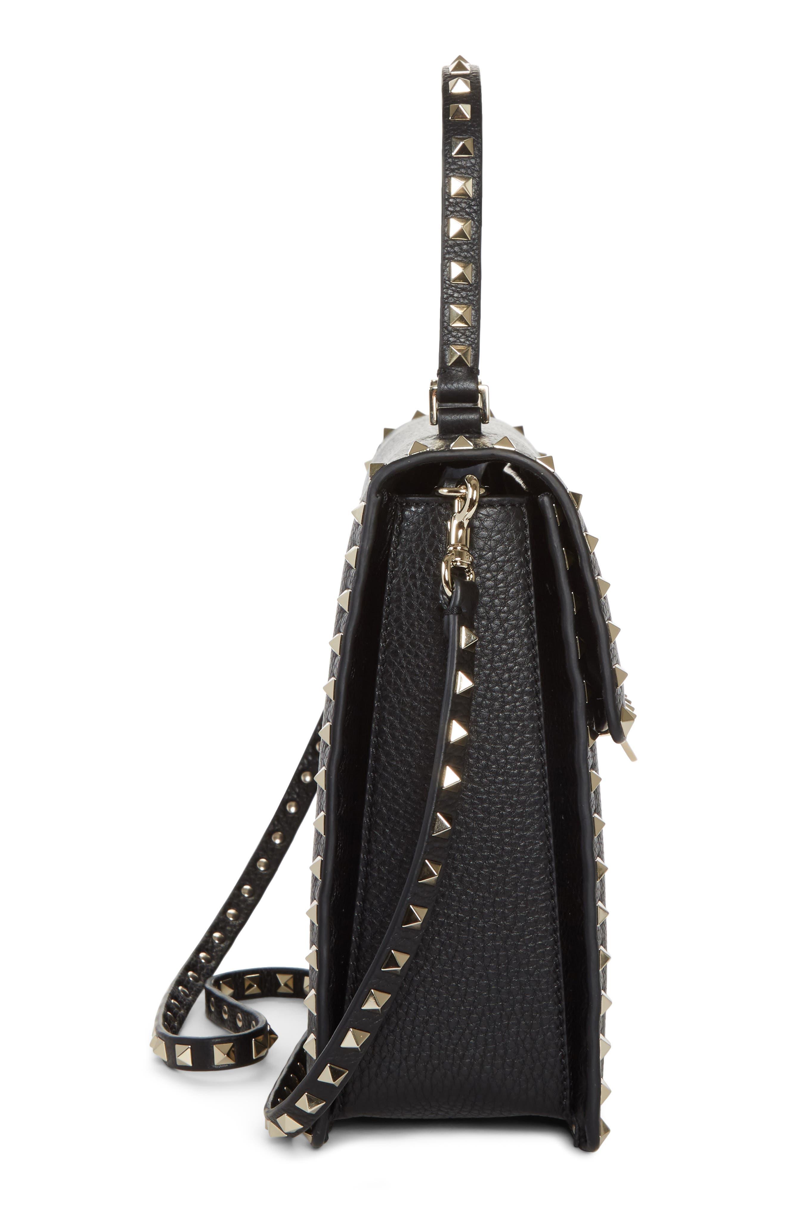 Rockstud Leather Top Handle Shoulder Bag,                             Alternate thumbnail 5, color,                             001