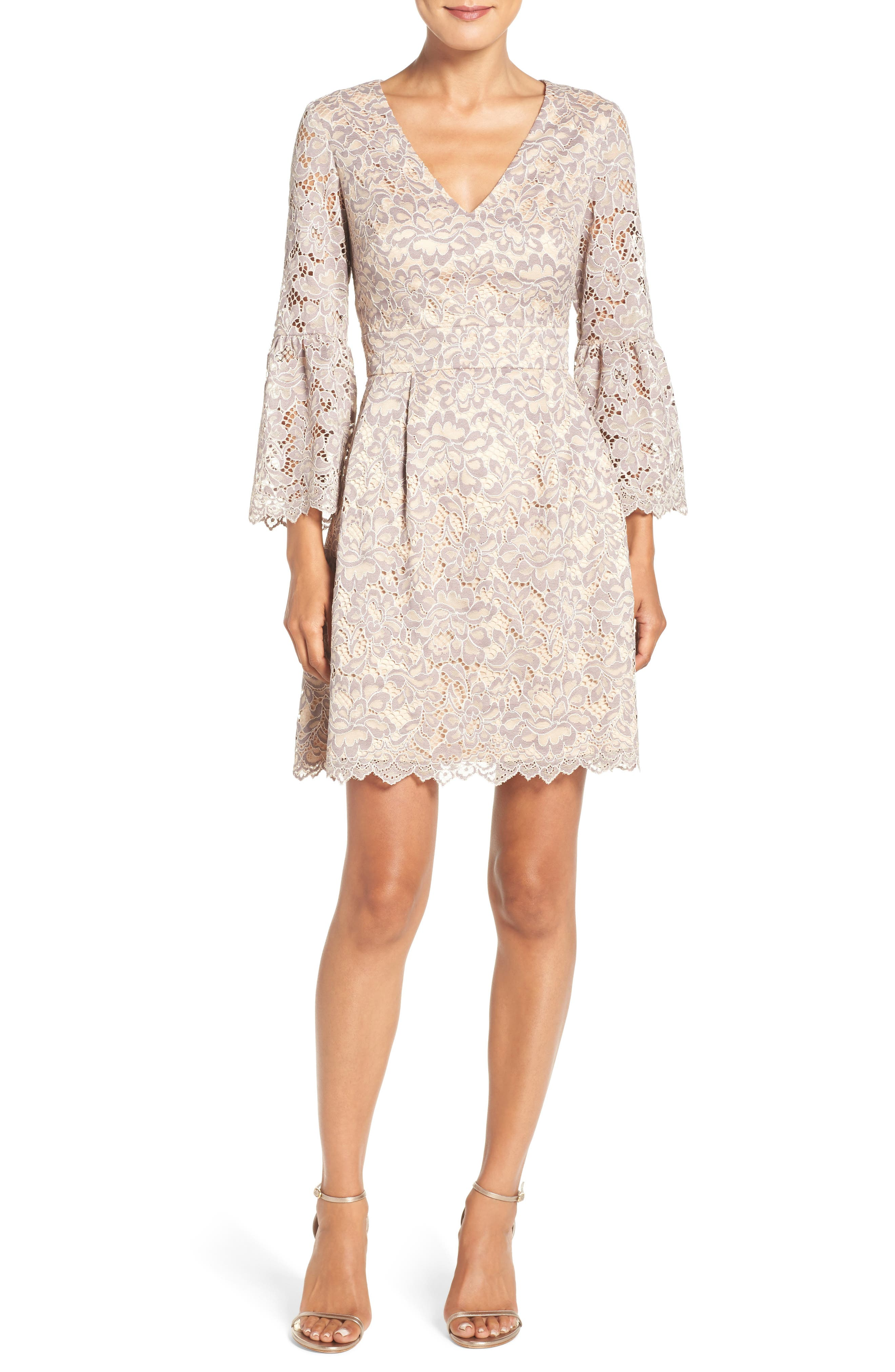Lace Fit & Flare Dress,                             Alternate thumbnail 6, color,                             030
