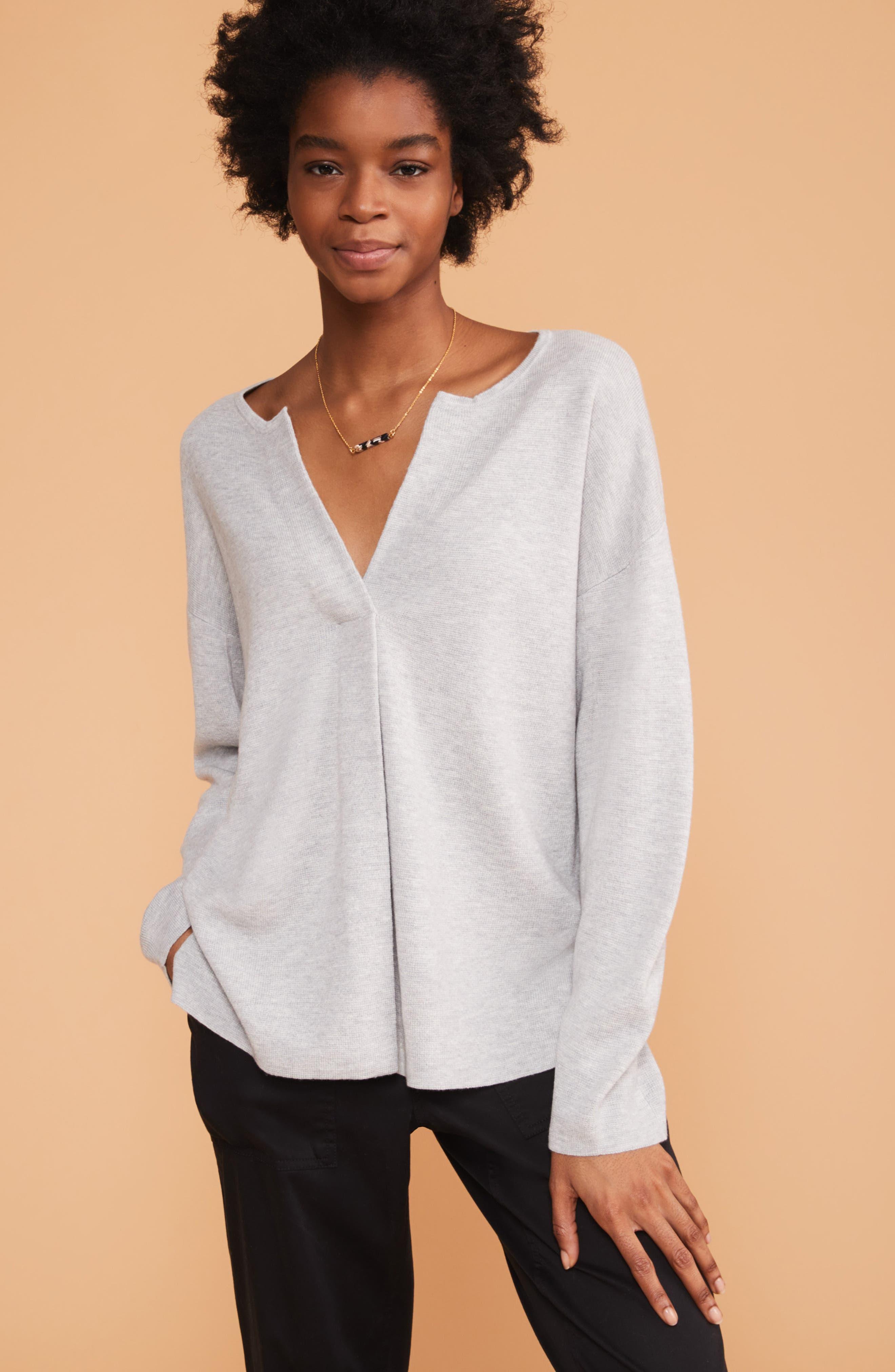 Split Neck Sweater,                             Alternate thumbnail 7, color,                             MED GREY