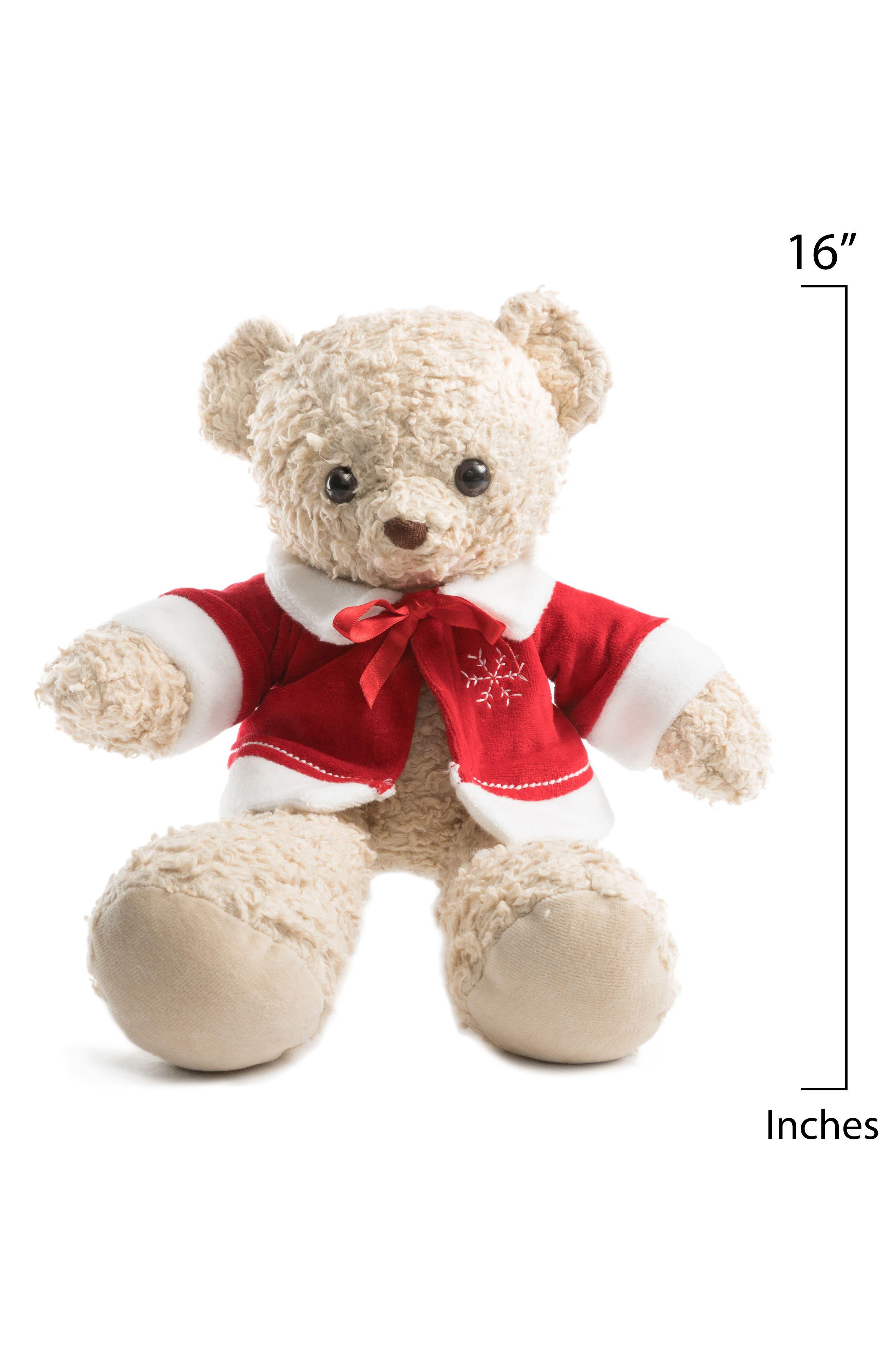 Medium Stuffed Bear with Holiday Jacket,                             Alternate thumbnail 6, color,
