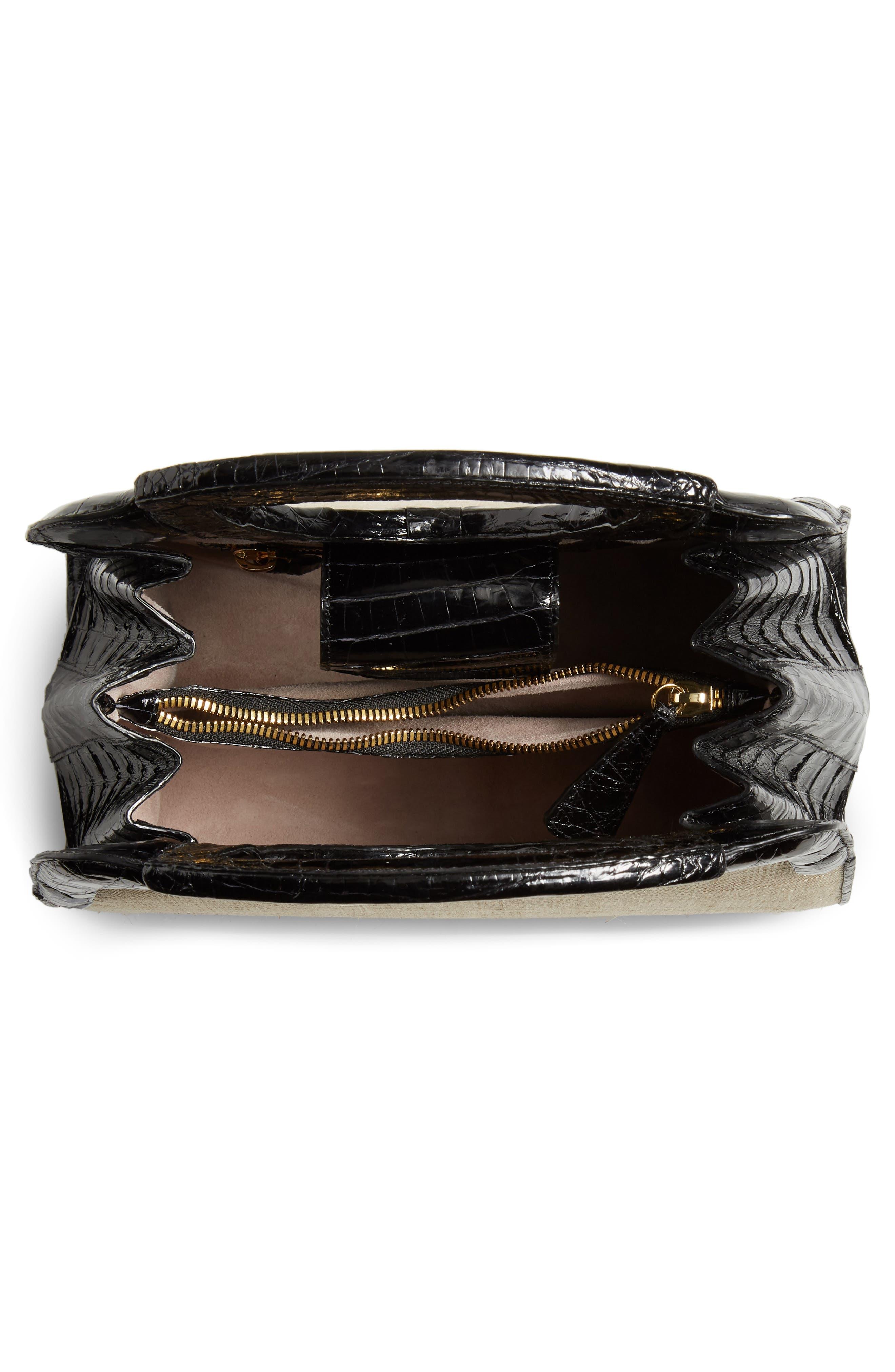 Small Genuine Crocodile Top Handle Bag,                             Alternate thumbnail 4, color,                             BLACK/ STRAW