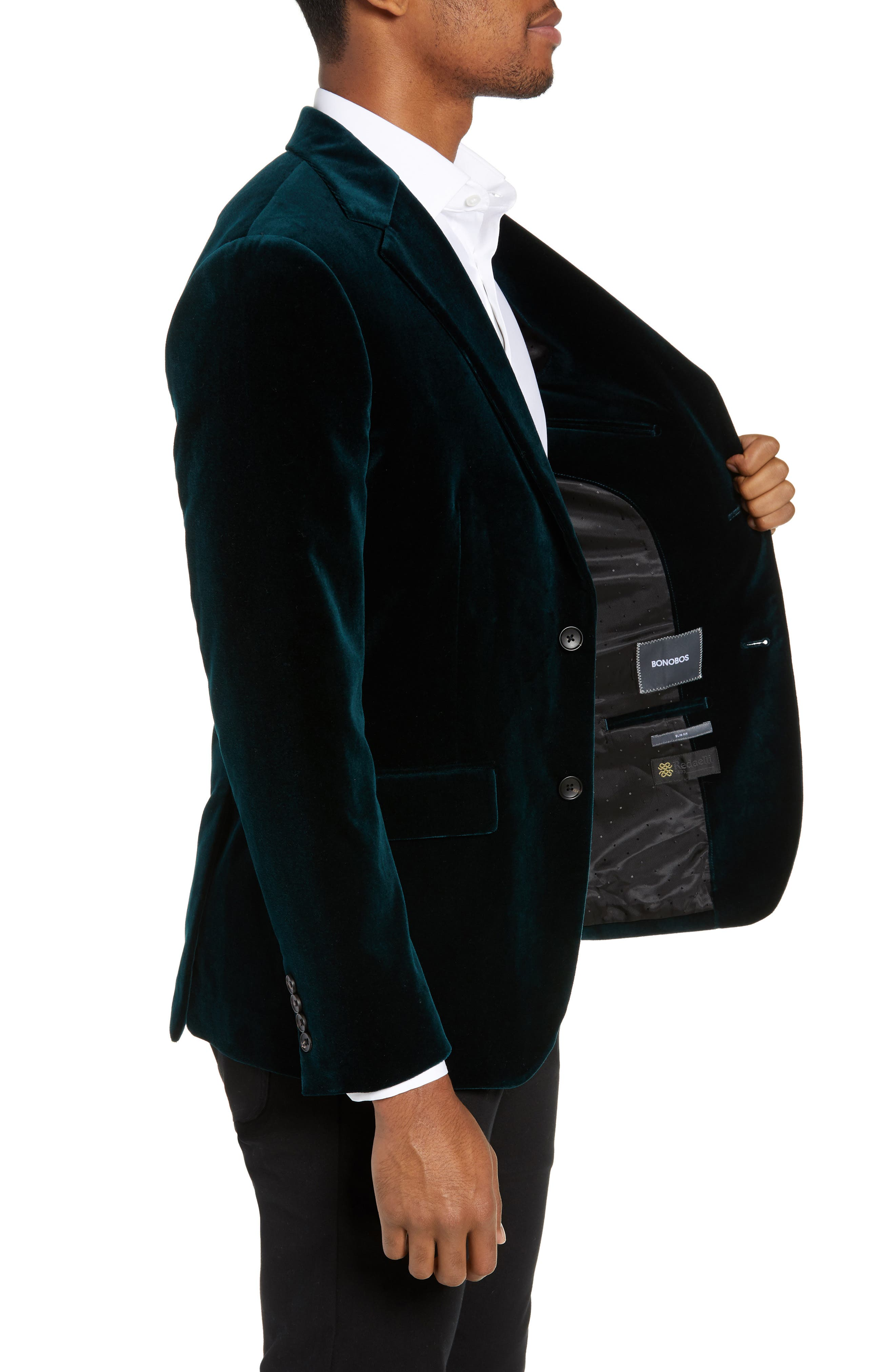Jetsetter Slim Fit Stretch Velveteen Blazer,                             Alternate thumbnail 3, color,                             SOFT TEAL