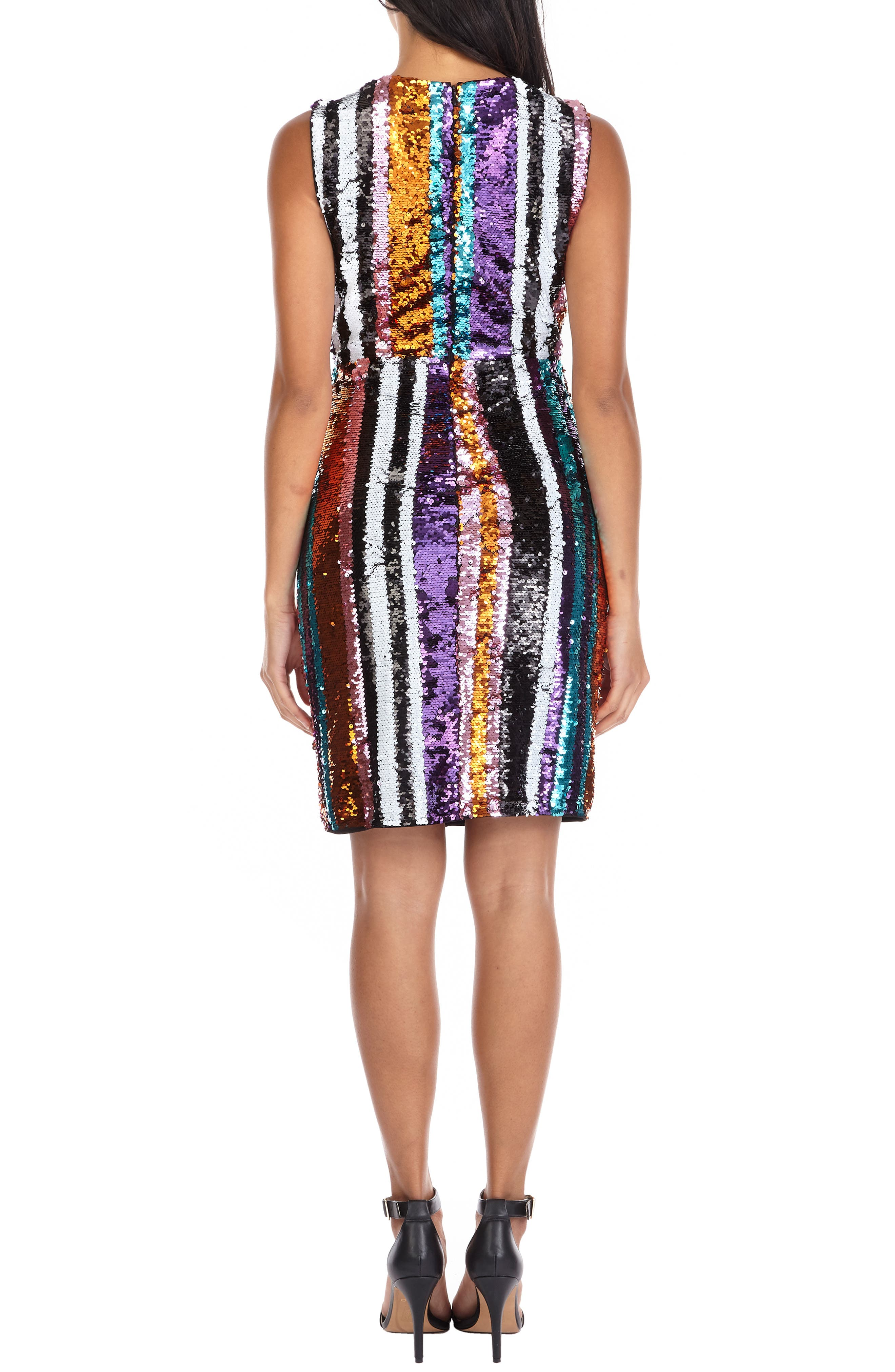 Sarah Rainbow Sequin Stripe Cocktail Sheath,                             Alternate thumbnail 2, color,                             MULTI PURPLE