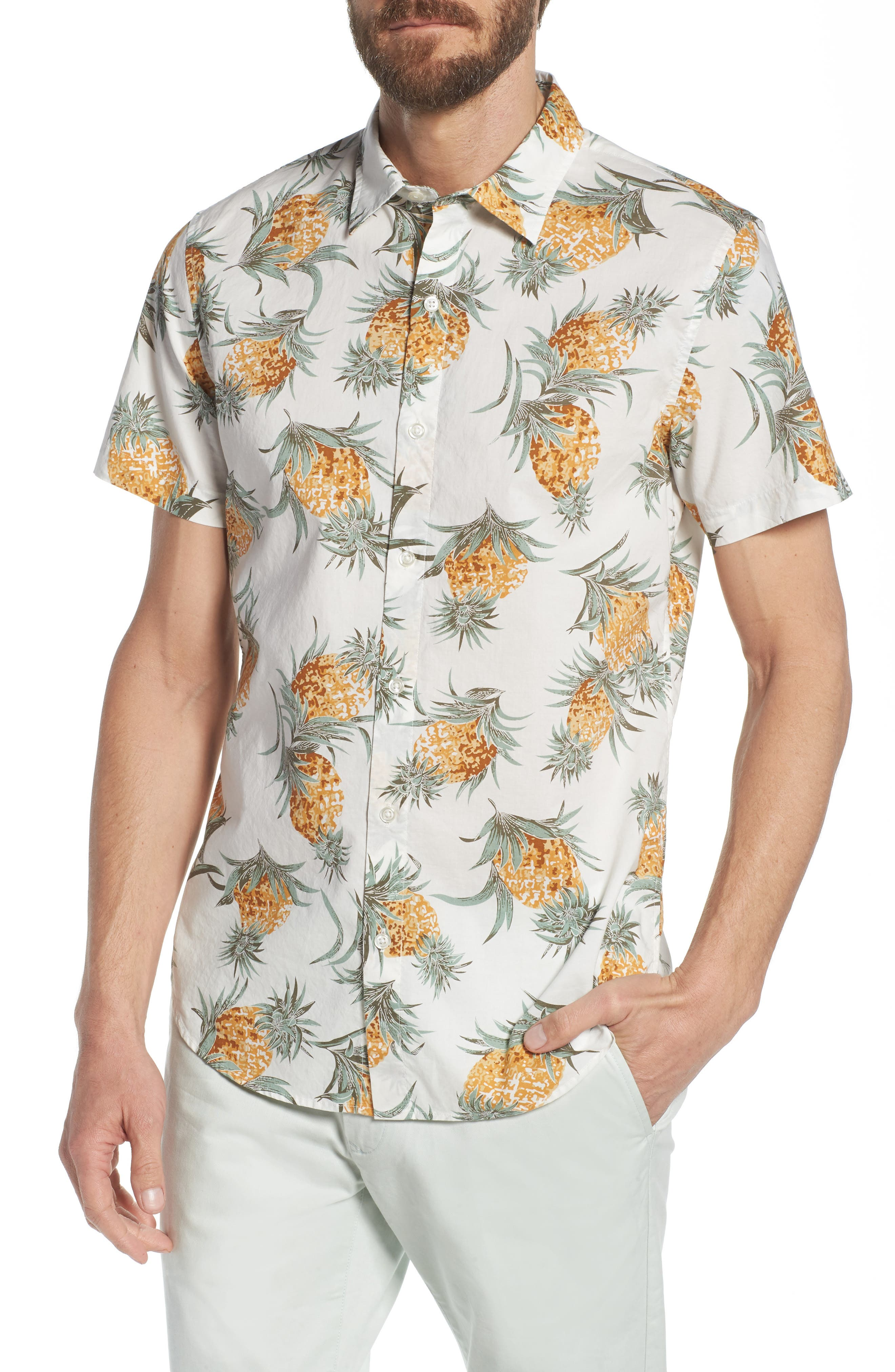 Slim Fit Print Sport Shirt,                         Main,                         color, PINEAPPLES - WHITE