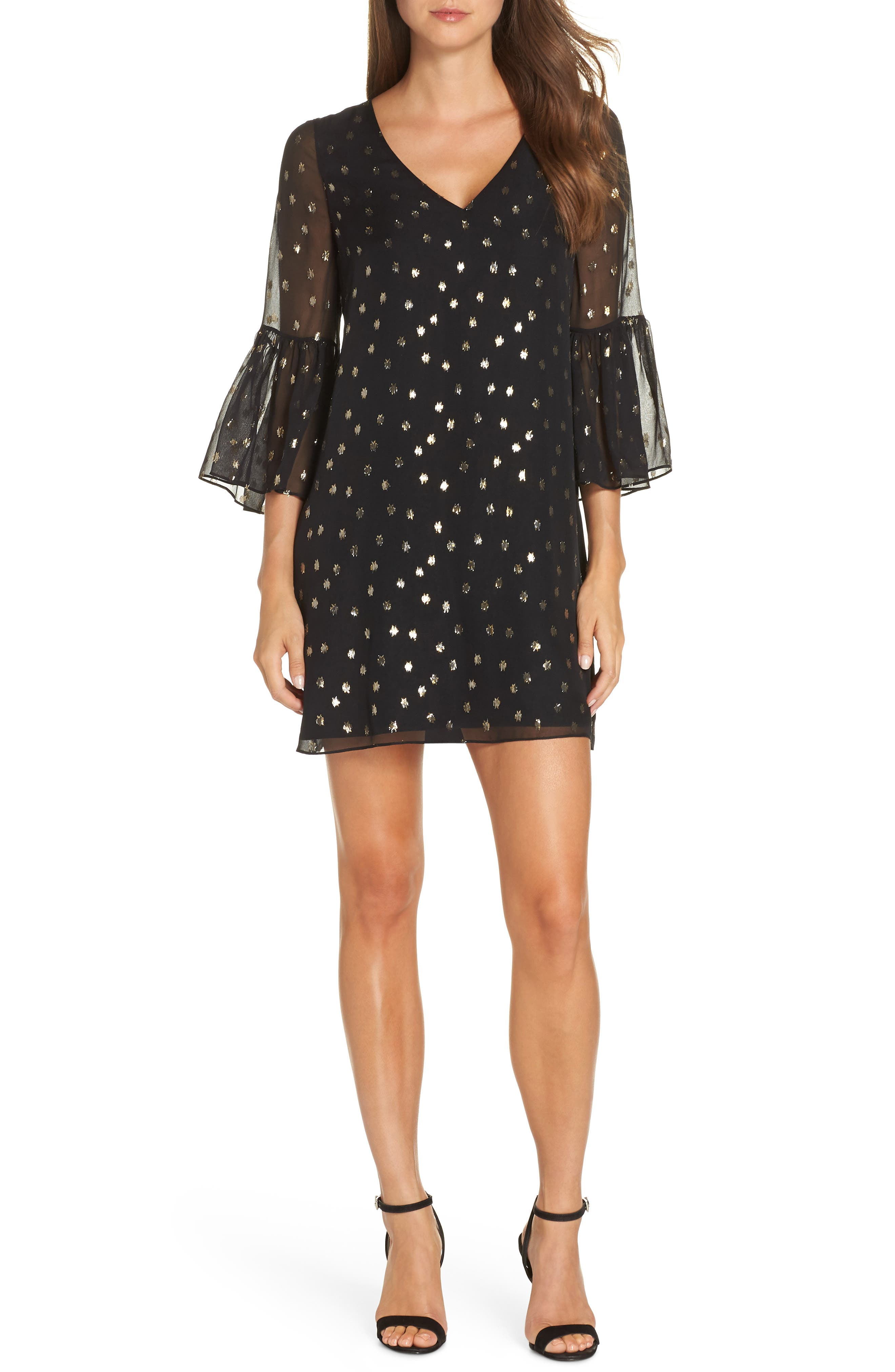LILLY PULITZER<SUP>®</SUP> Caroline Chiffon Tunic Dress, Main, color, ONYX STARRY CLIP CHIFFON