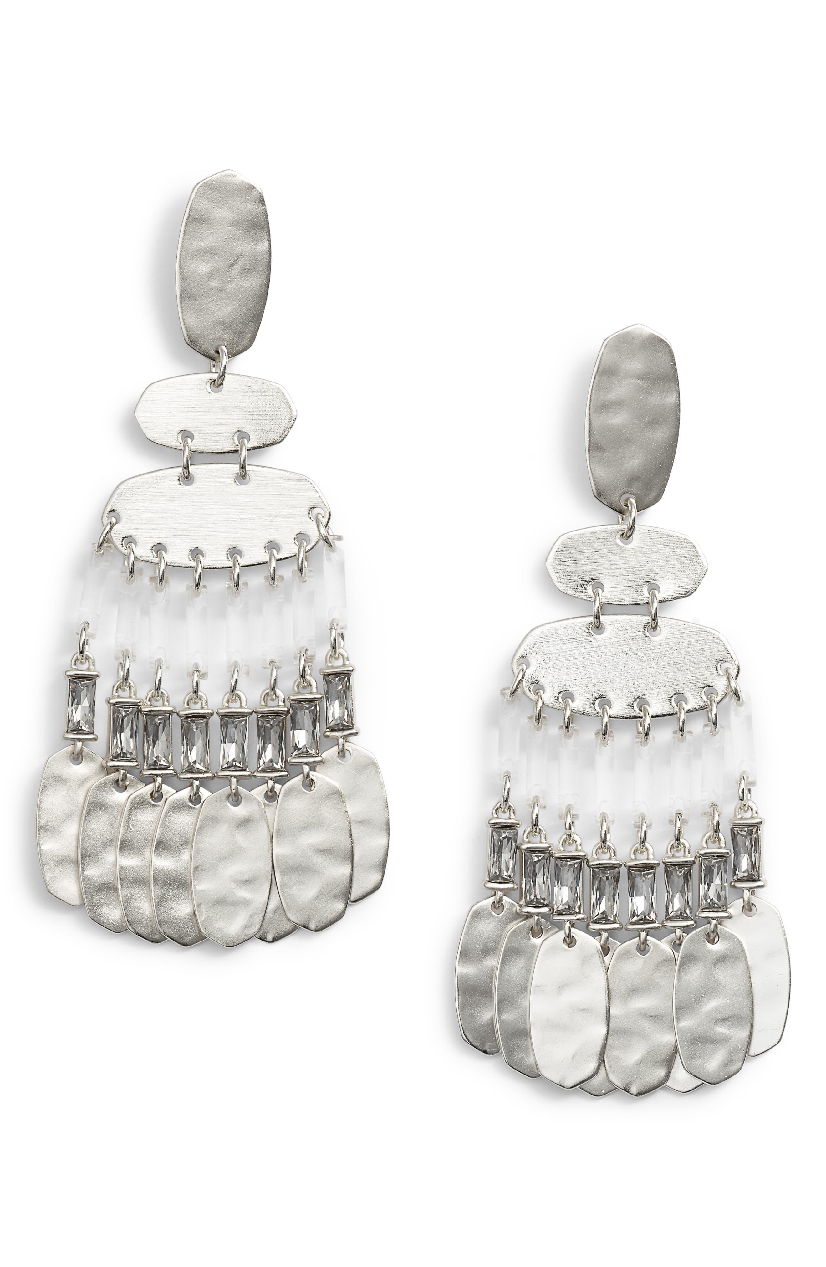 KENDRA SCOTT Oster Medium Chandelier Earrings in Smoky Crystal/ Gold