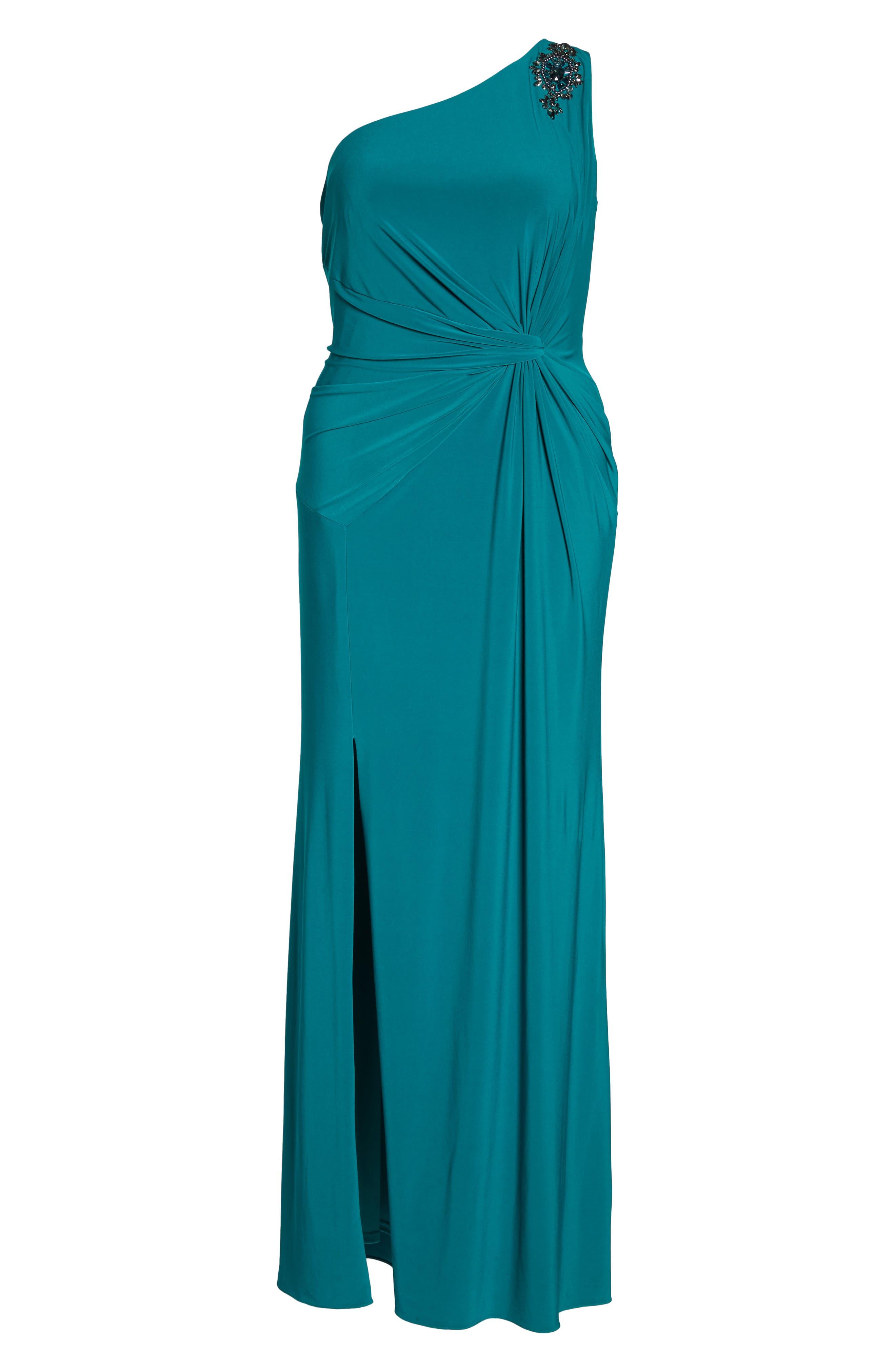 Embellished One-Shoulder Column Gown,                             Alternate thumbnail 6, color,