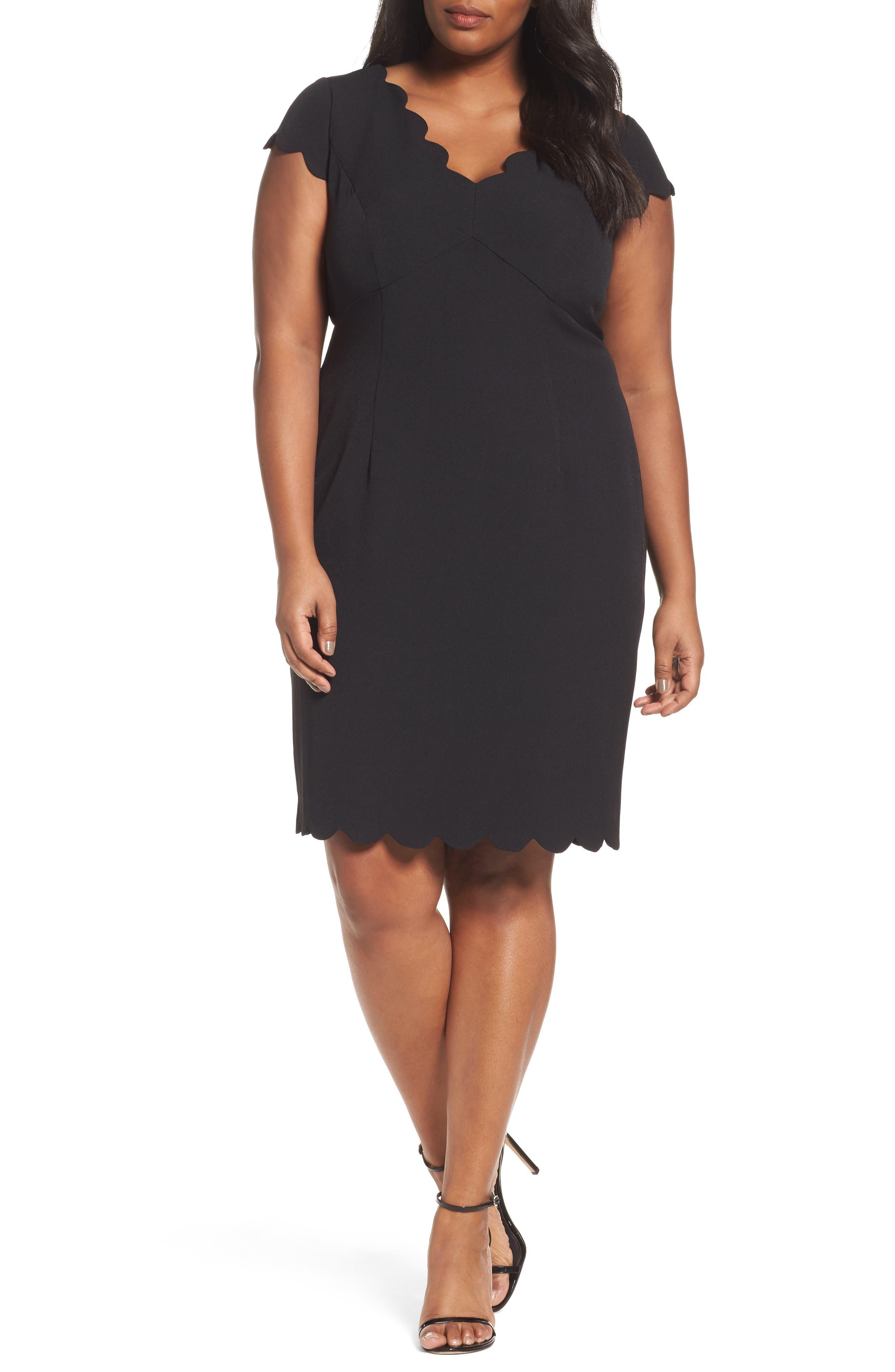 Scalloped Crepe Sheath Dress,                             Main thumbnail 1, color,                             001