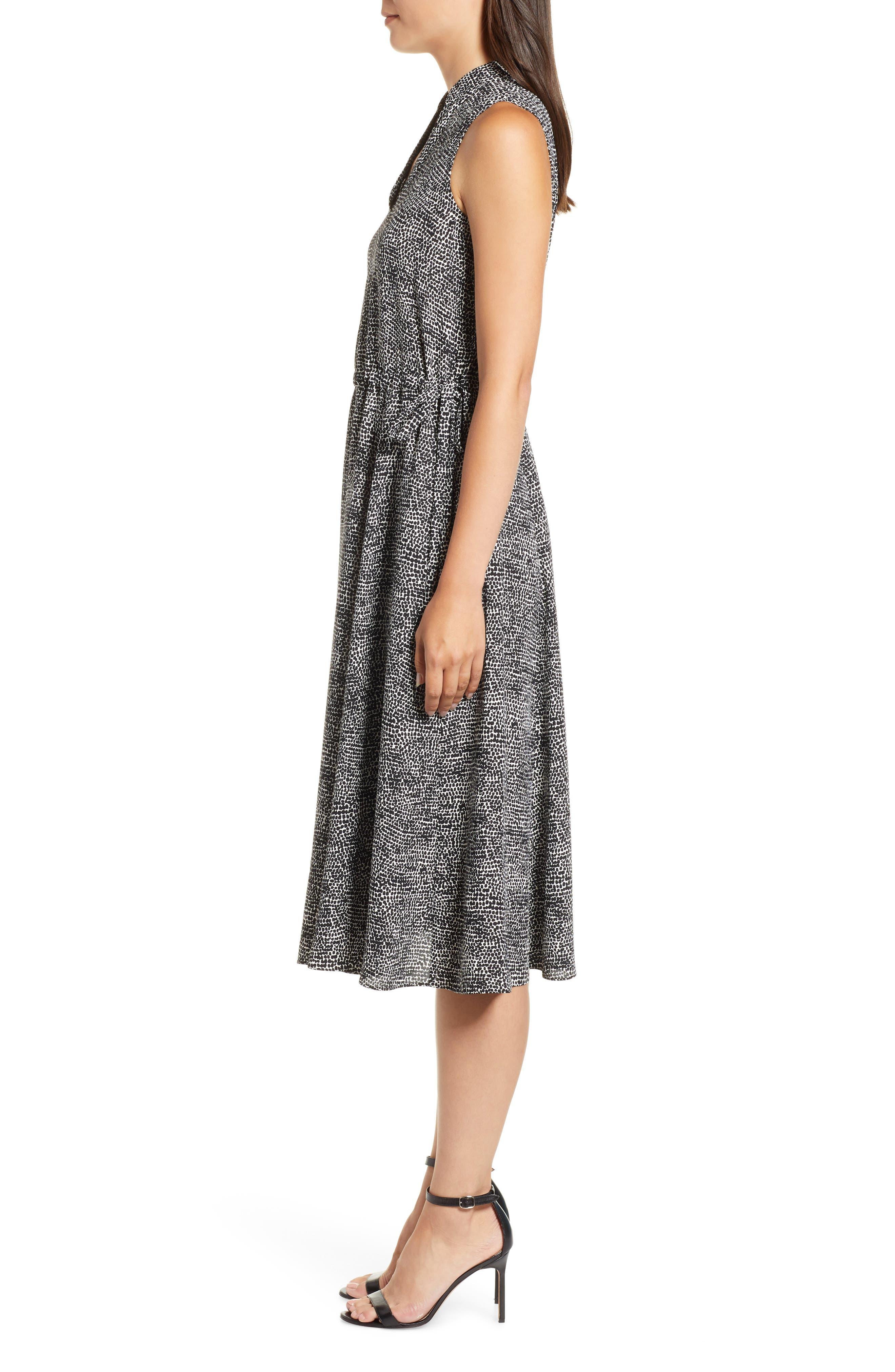 Sleeveless Print Midi Dress,                             Alternate thumbnail 3, color,                             ANNE WHITE/ ANNE BLACK
