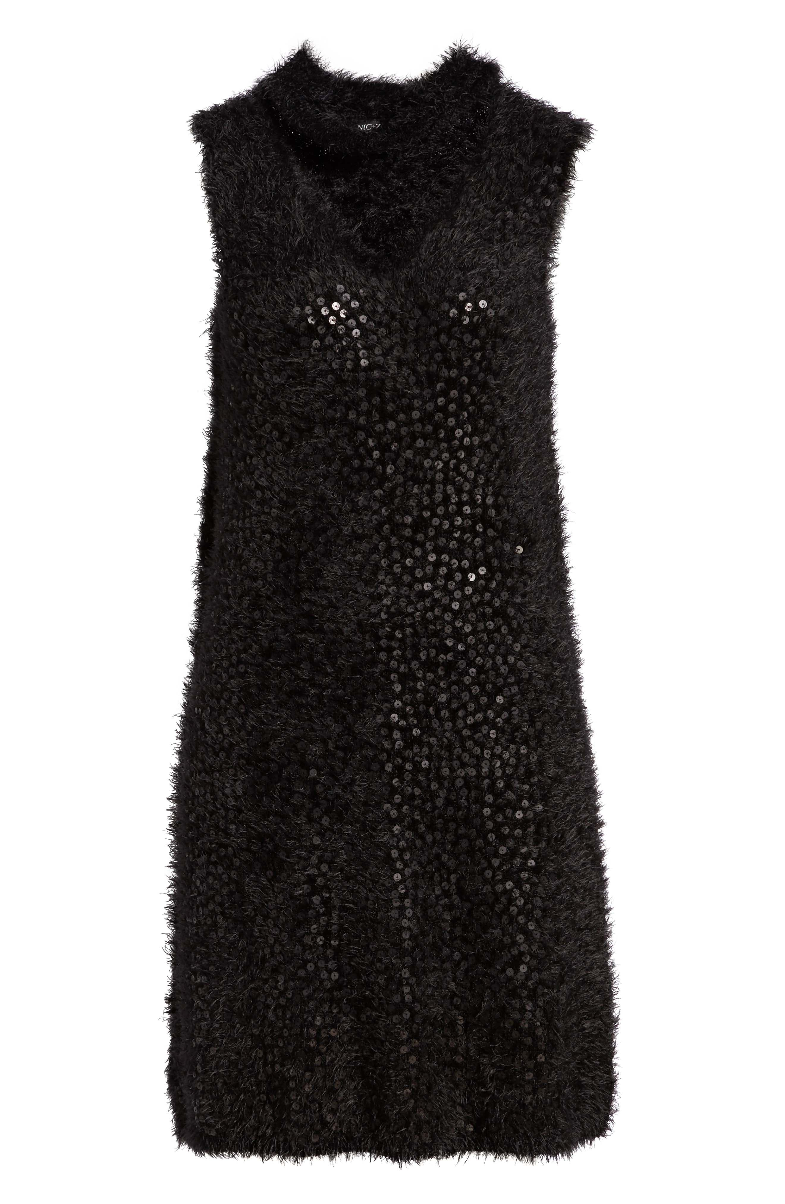 Cozy Sequin Dress,                             Alternate thumbnail 7, color,                             BLACK ONYX