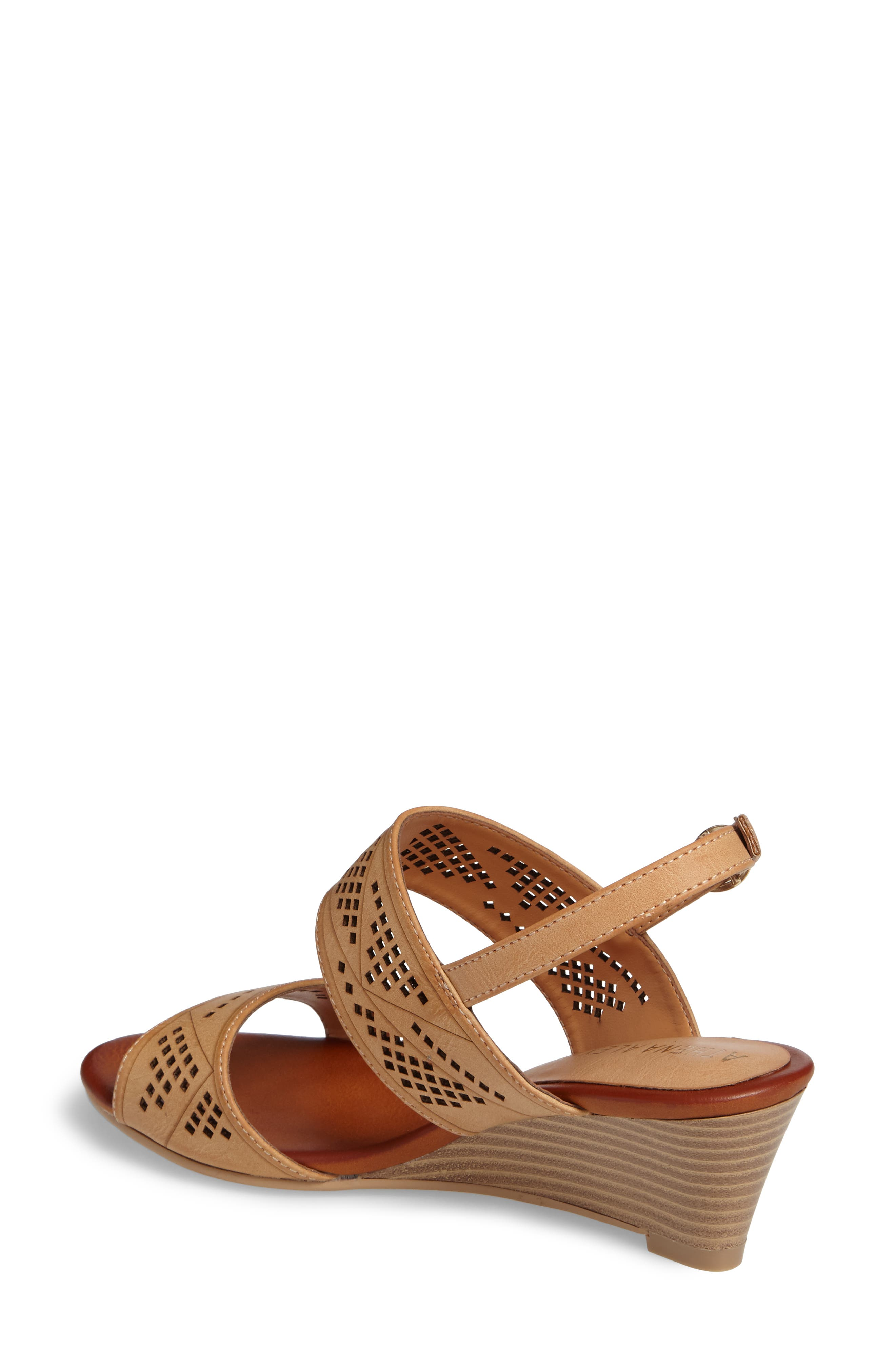 Sparce Perforated Wedge Sandal,                             Alternate thumbnail 4, color,