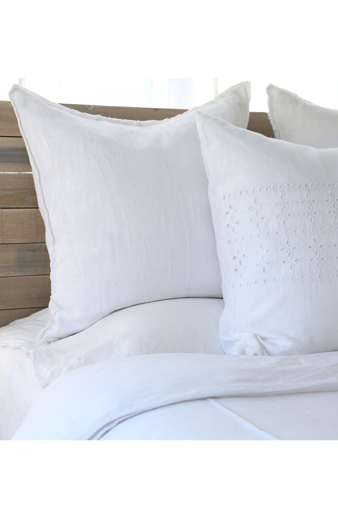 'Blair' Linen Euro Pillow Sham,                             Alternate thumbnail 2, color,                             WHITE