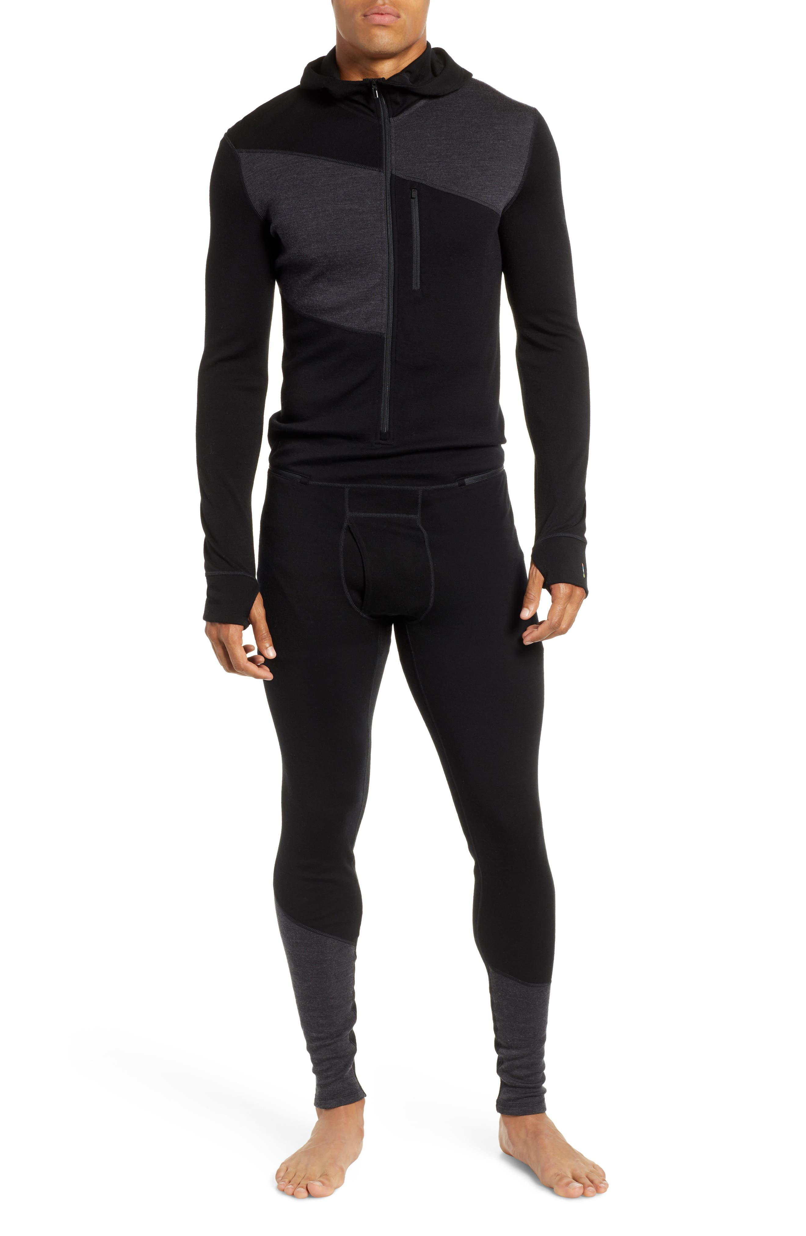 SMARTWOOL Merino 250 Hooded One-Piece Base Layer, Main, color, CHARCOAL/ BLACK