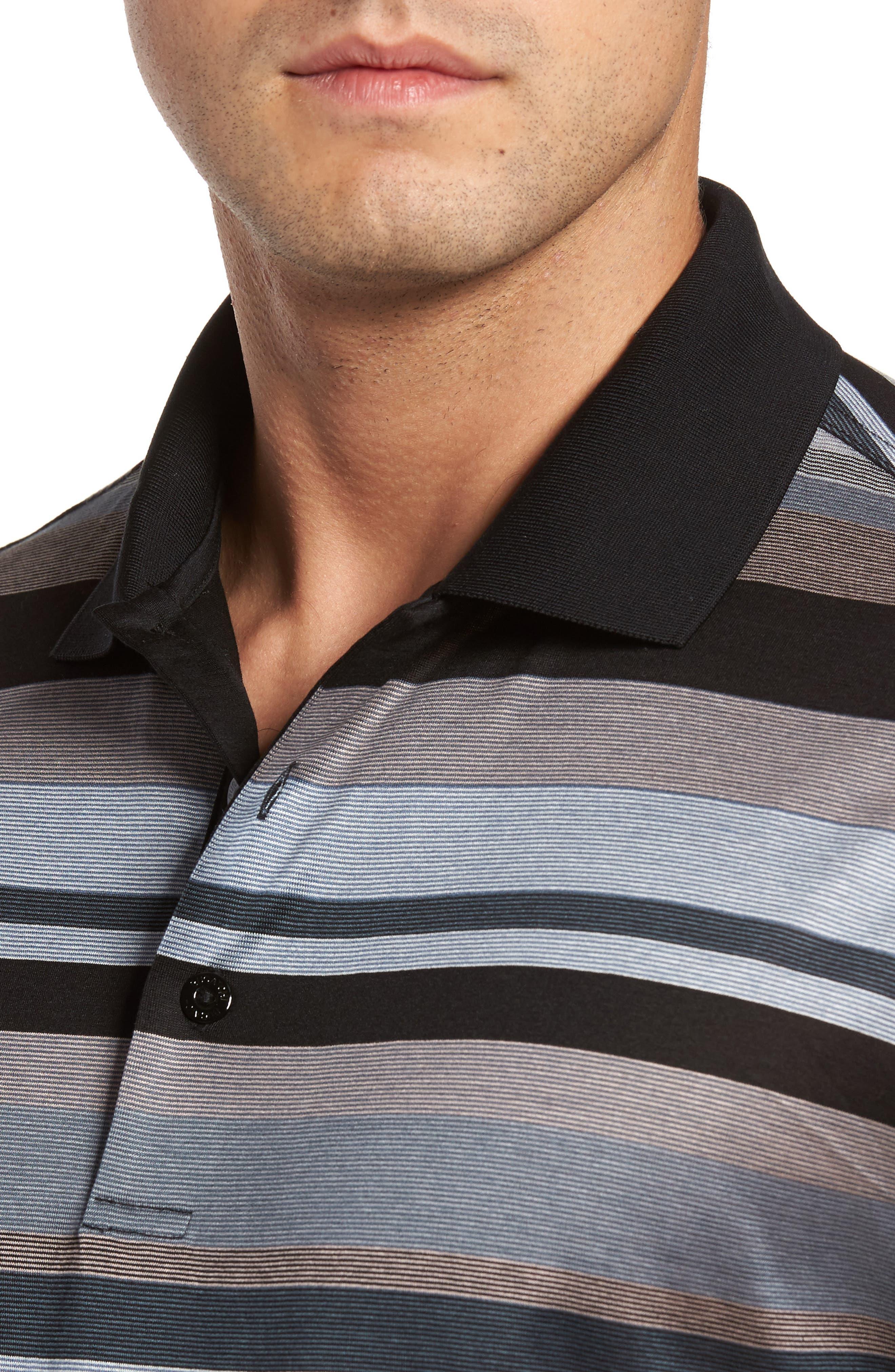 Classic Fit Stripe Polo,                             Alternate thumbnail 4, color,                             001