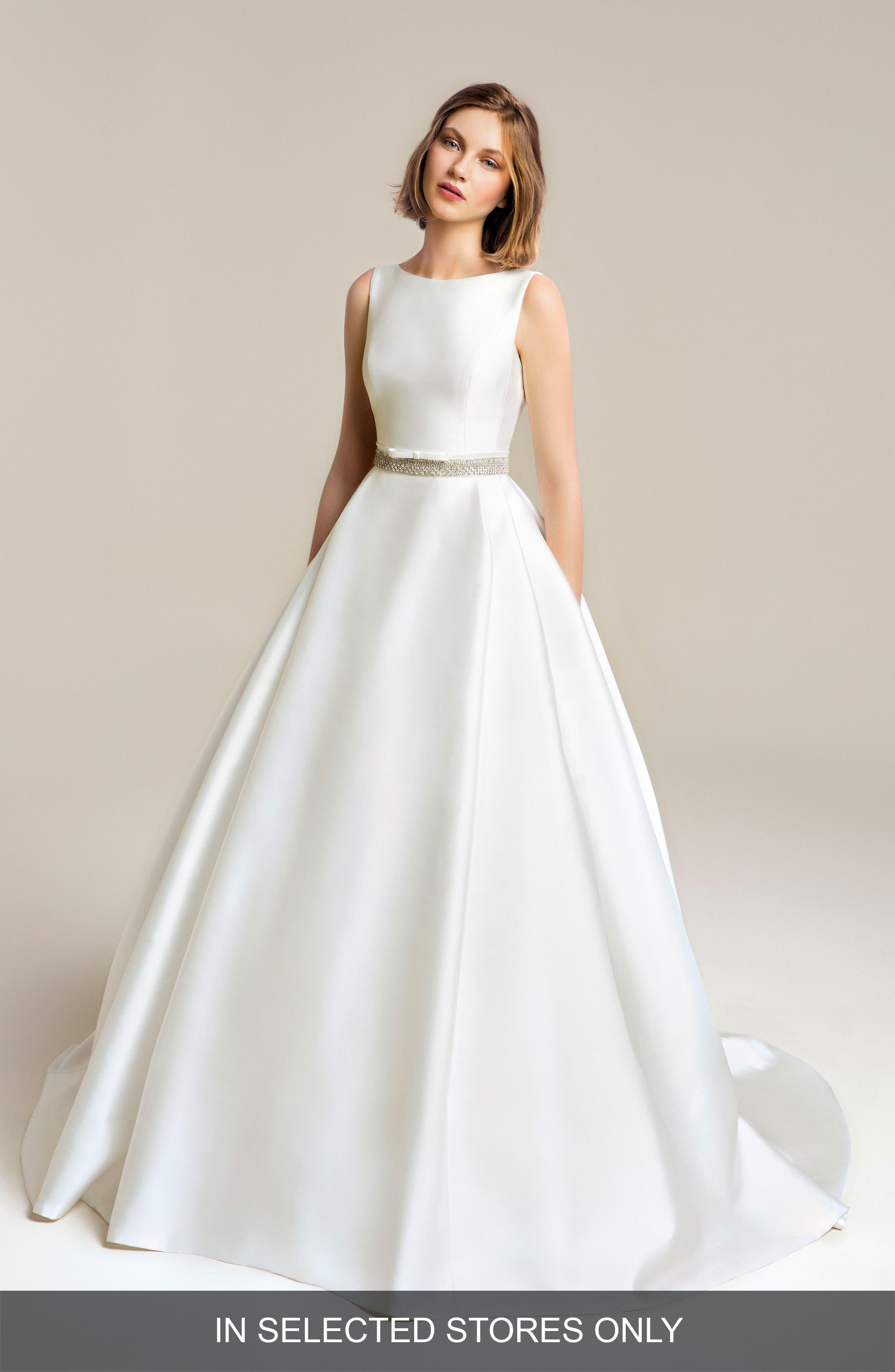 Jesus Peiro Satin Beaded Detail Wedding Dress, Size IN STORE ONLY - White