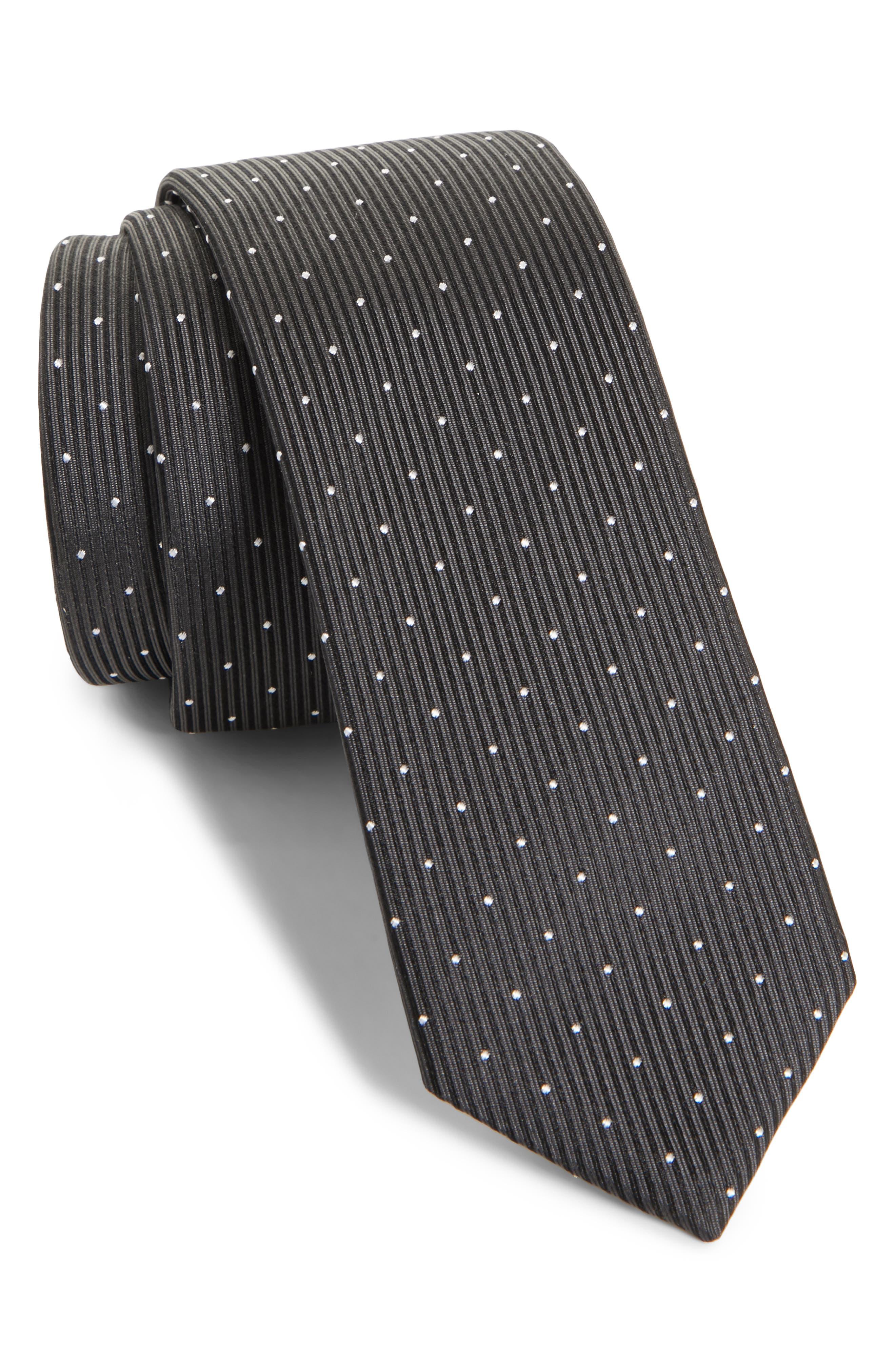 Dot Silk Skinny Tie,                             Main thumbnail 1, color,                             001