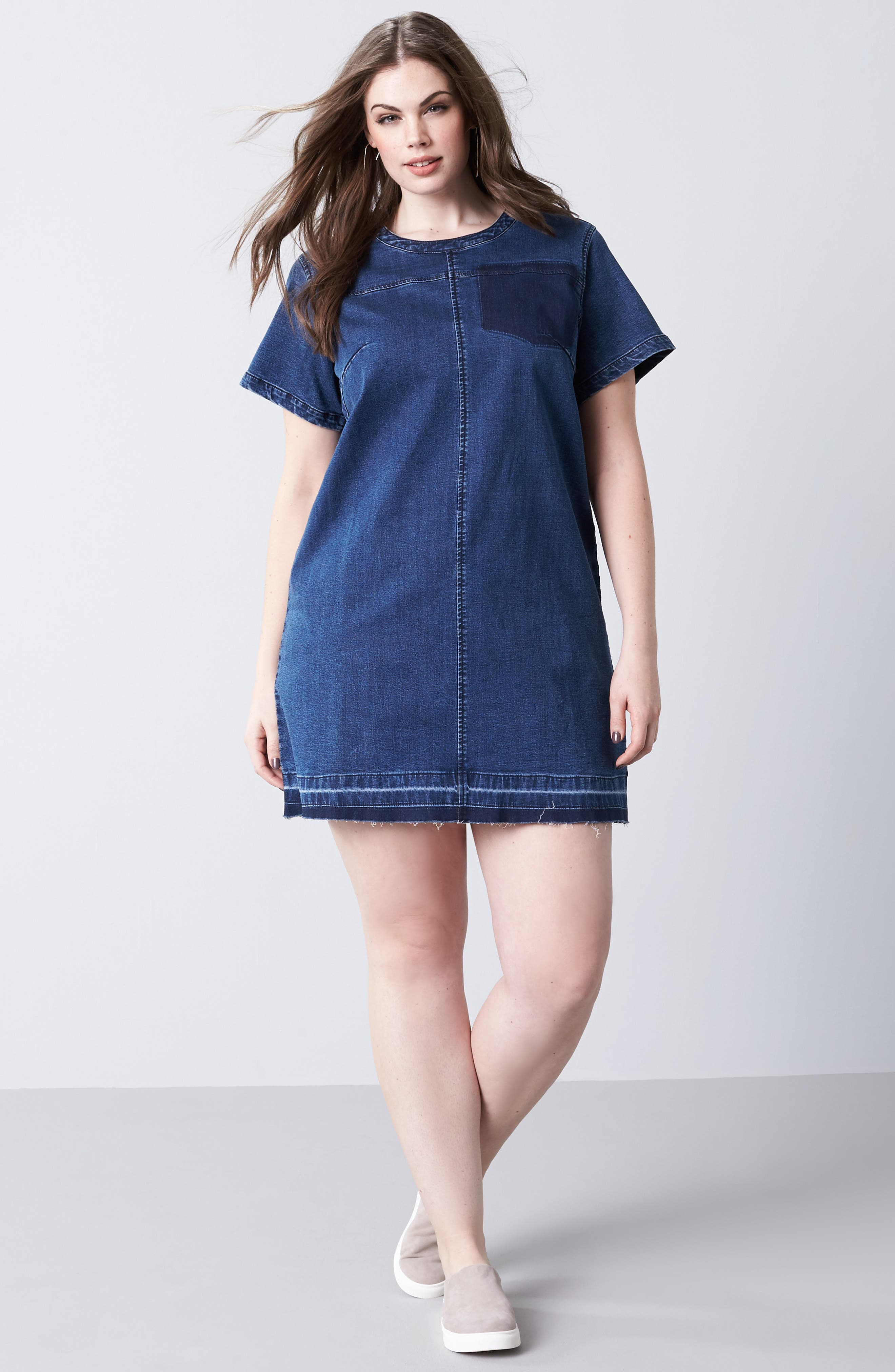 Denim Darling Shift Dress,                         Main,                         color, 400