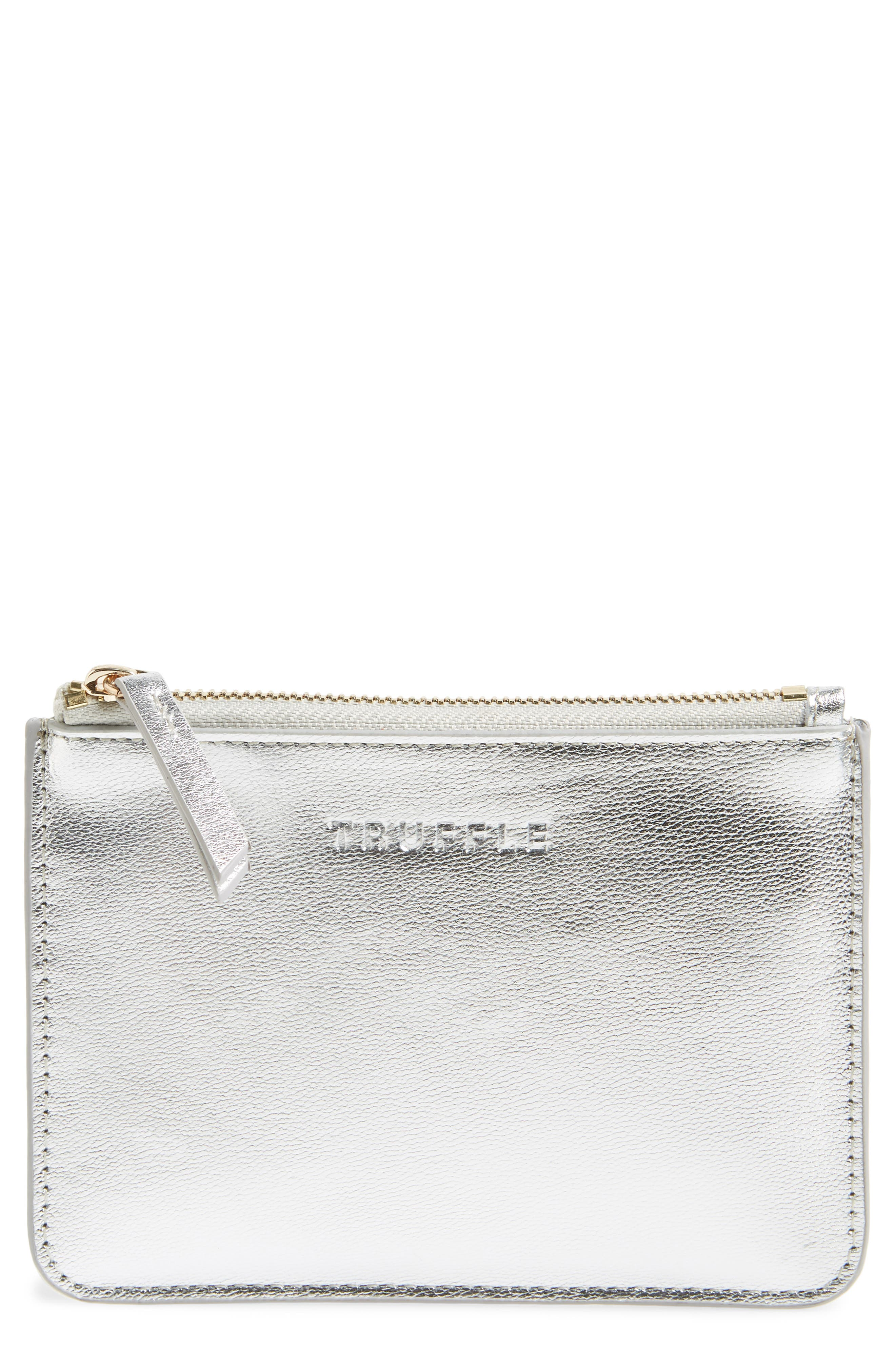 Privacy Leather Coin Pouch,                         Main,                         color, SILVER