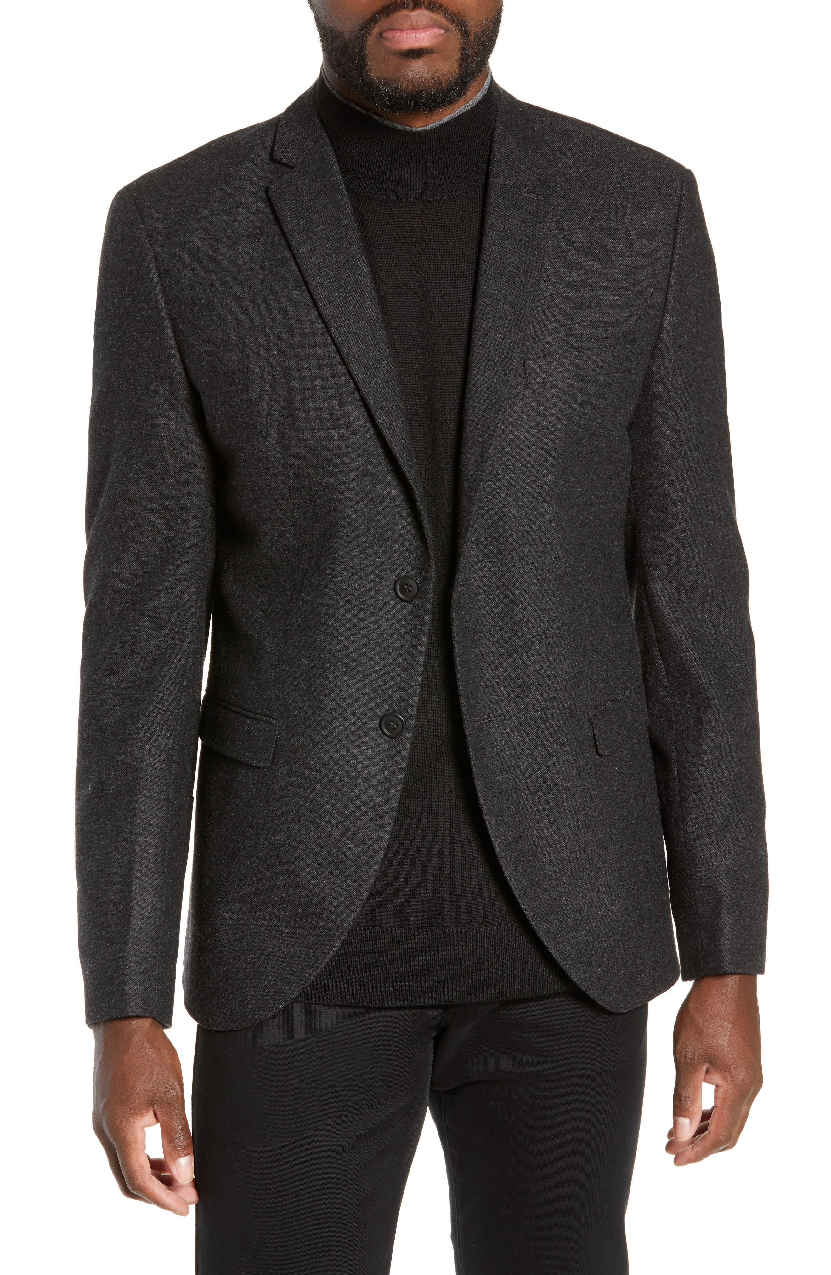 Slim Fit Myloiver Wool Blend Blazer,                         Main,                         color, DARK GREY