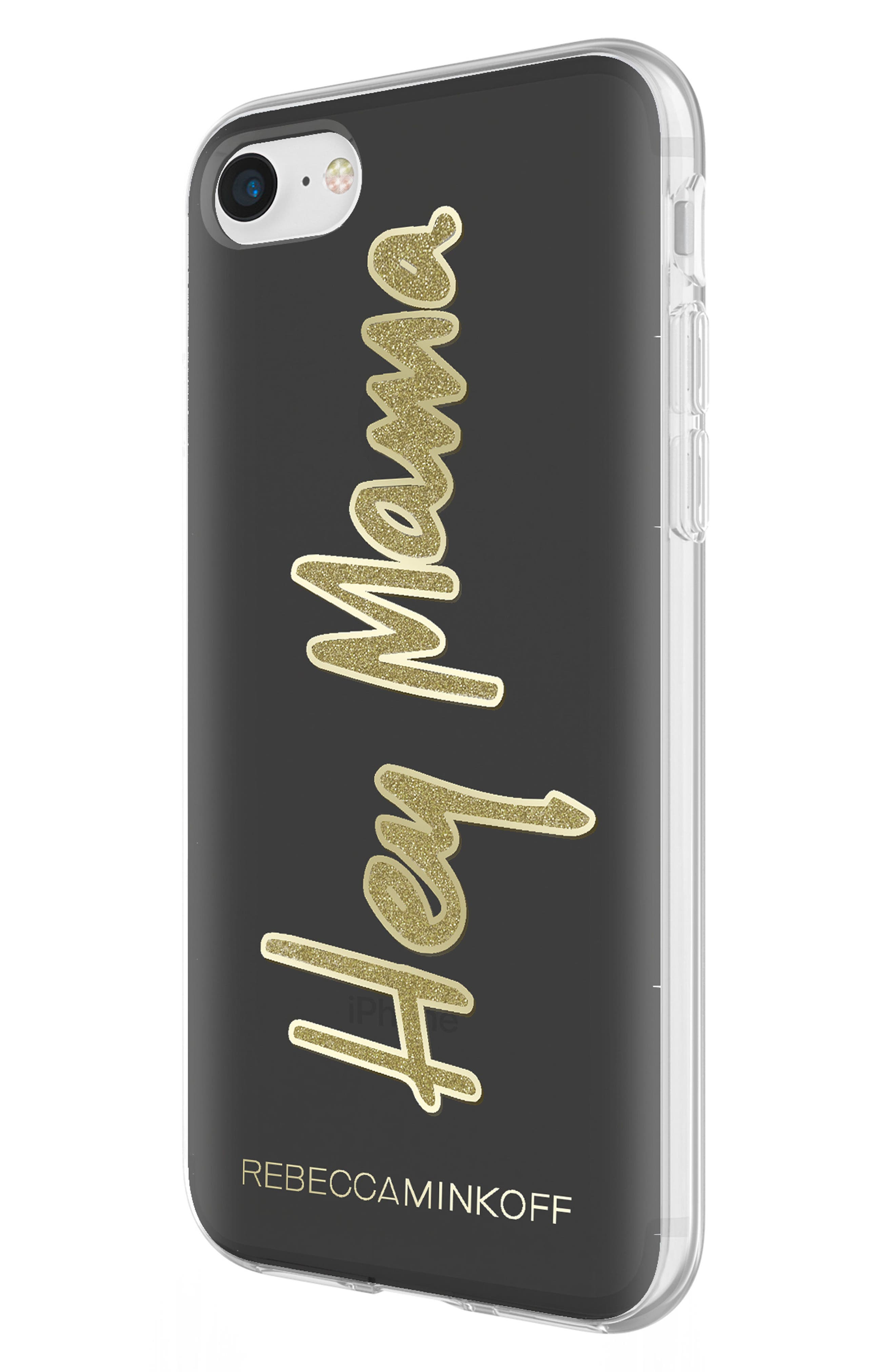 Hey Mama iPhone 7/8 & 7/8 Plus Case,                             Alternate thumbnail 2, color,                             BLACK/ GOLD GLITTER